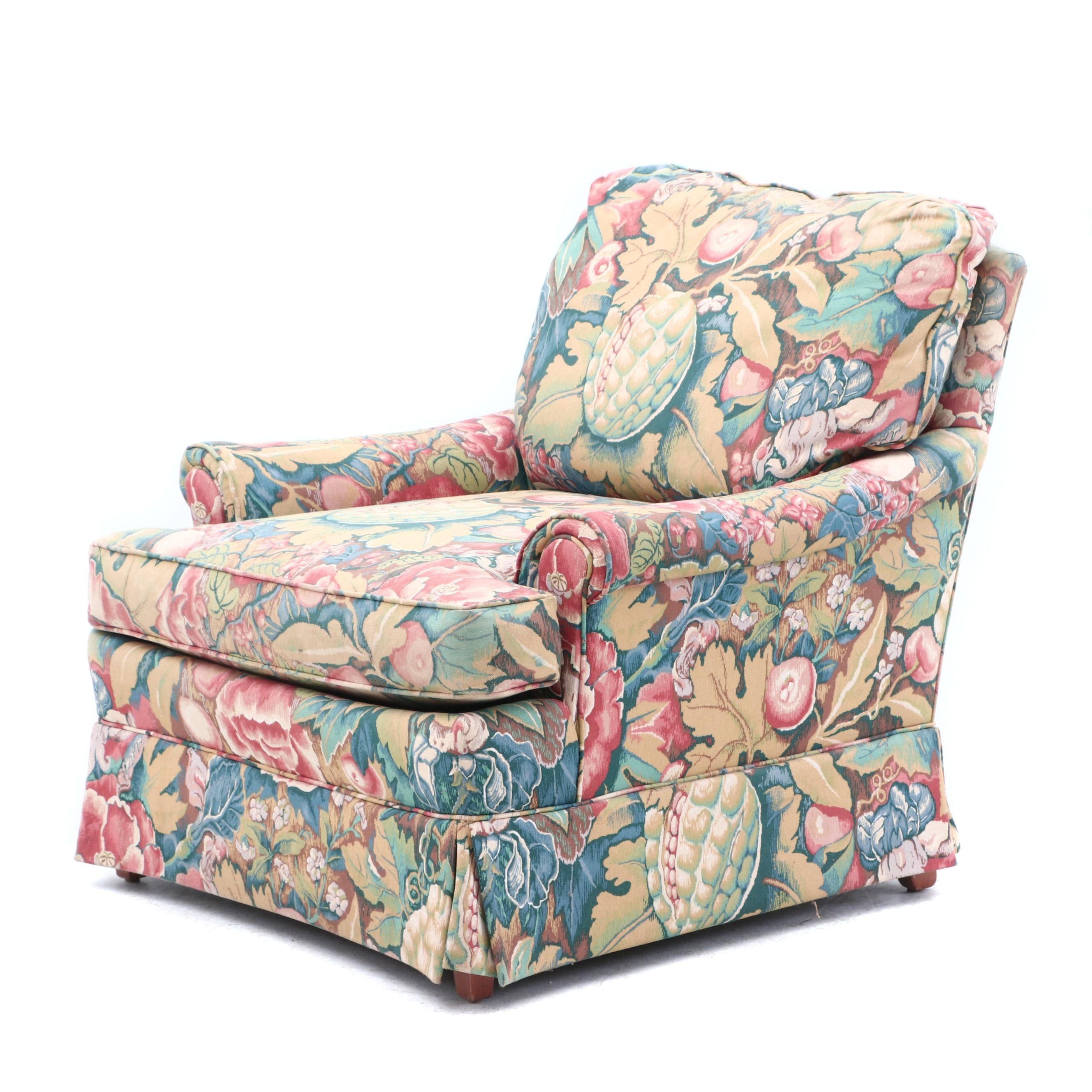 Linen Print Club Chair by Fairington, Late 20th Century