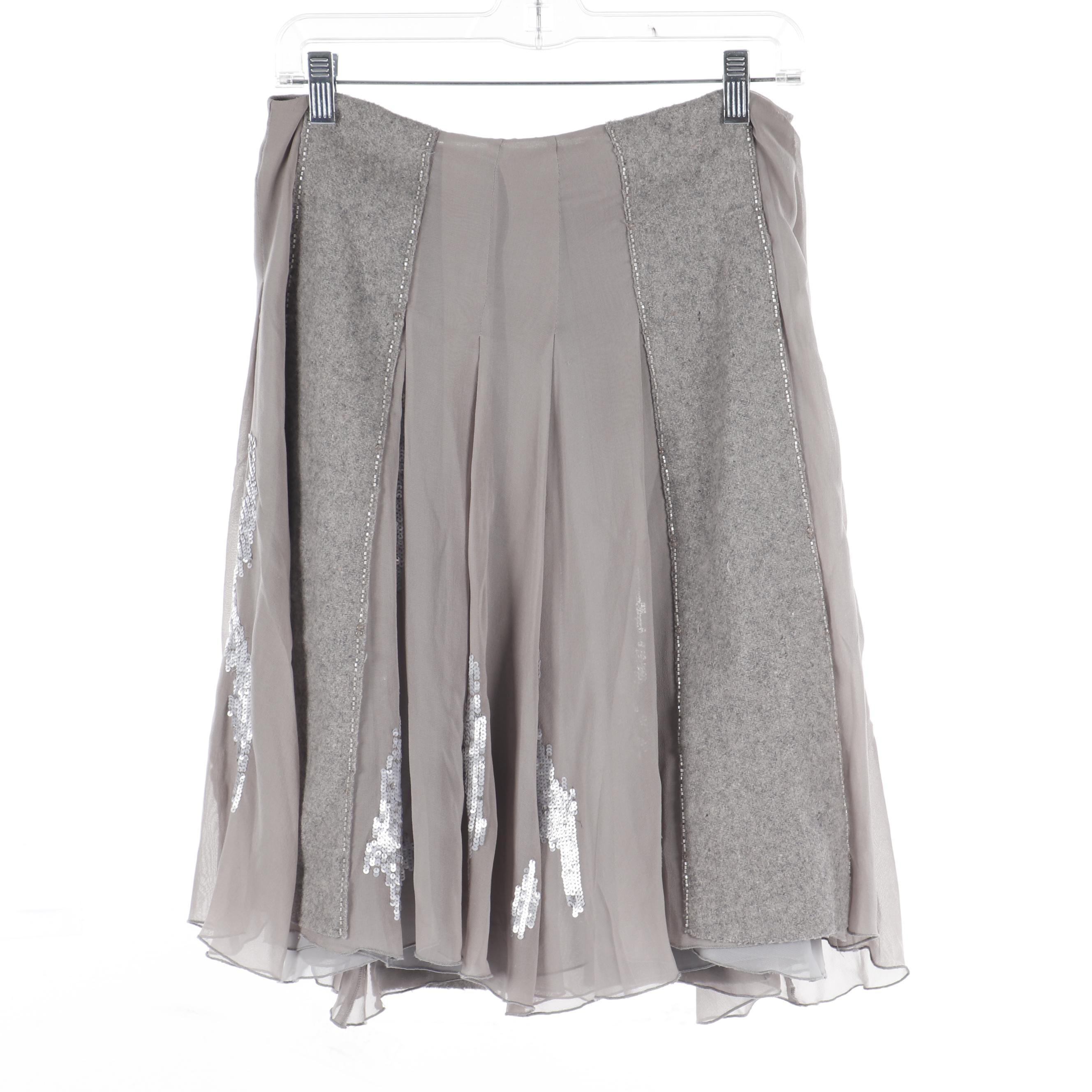 Maurizio Pecoraro Grey Mixed Fabrics Top Stitch Pleated Skirt with Sequins