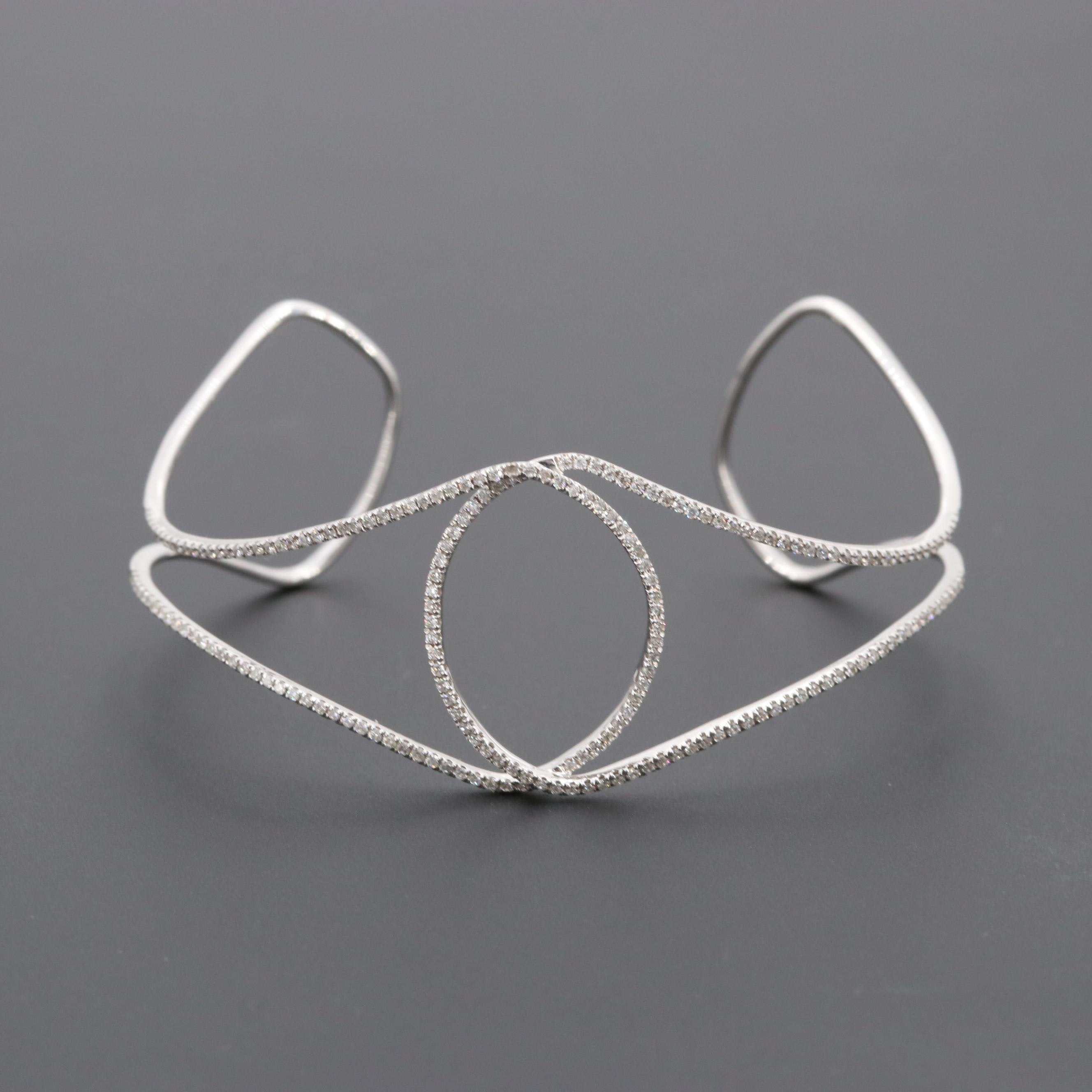 14K White Gold Diamond Cuff Bracelet