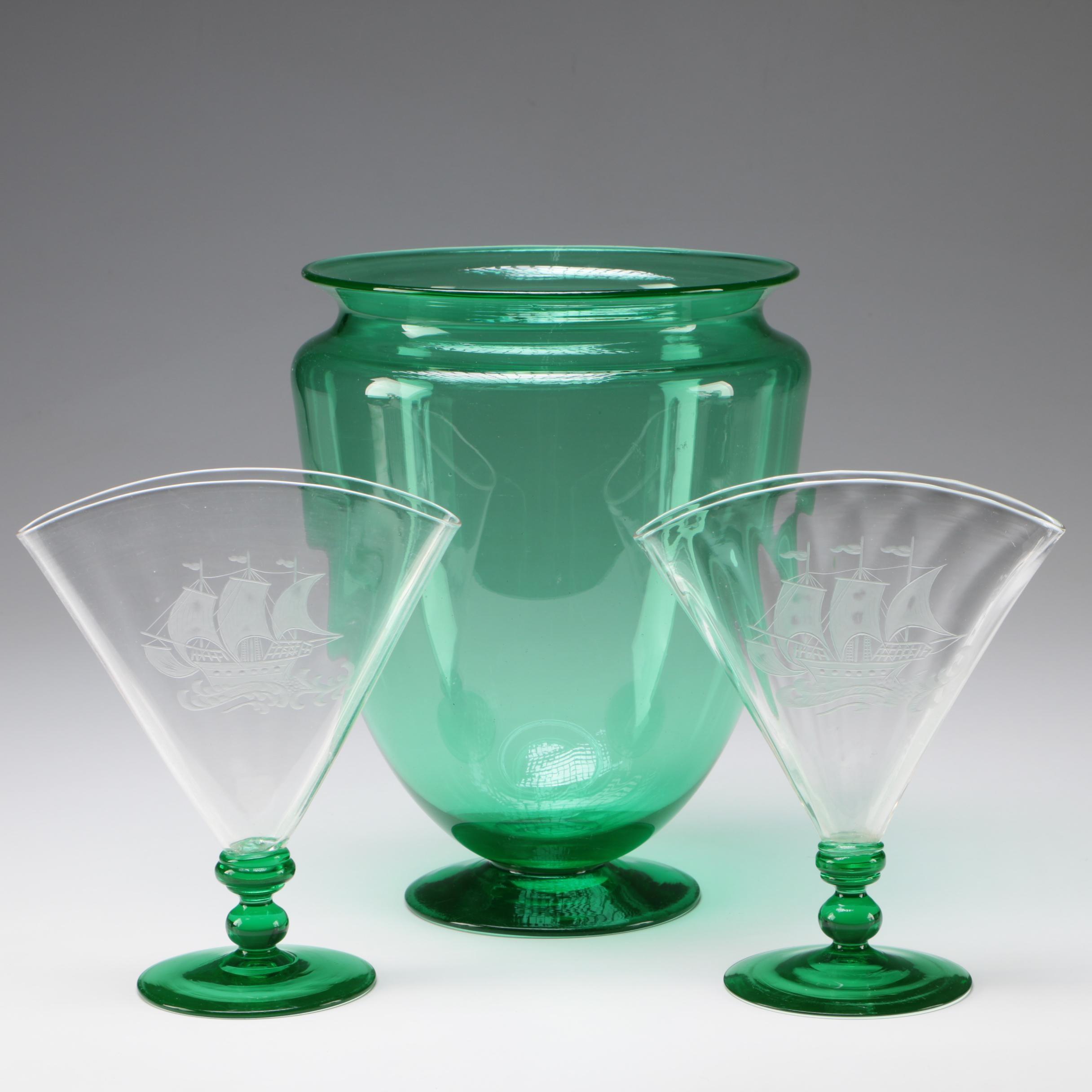 "Steuben ""Spanish Galleon"" Art Glass Fan Vases and Large Vase in Pomona Green"