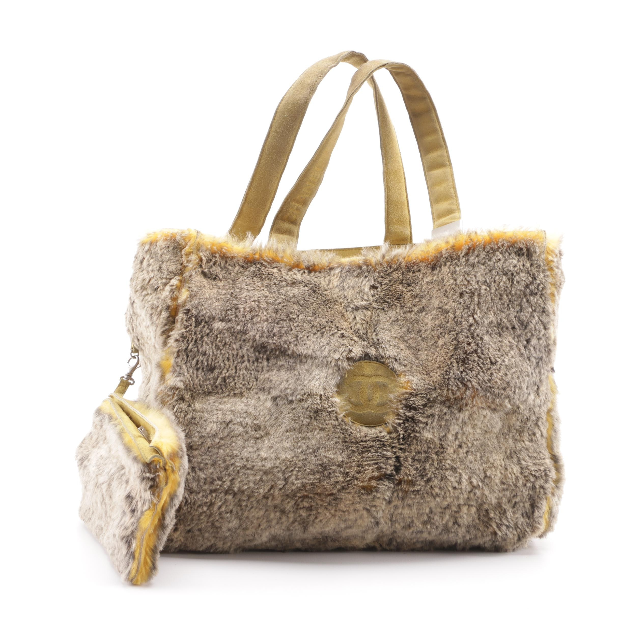 Circa 2000 Chanel Lapin Dyed Rabbit Fur Tote with Pouch