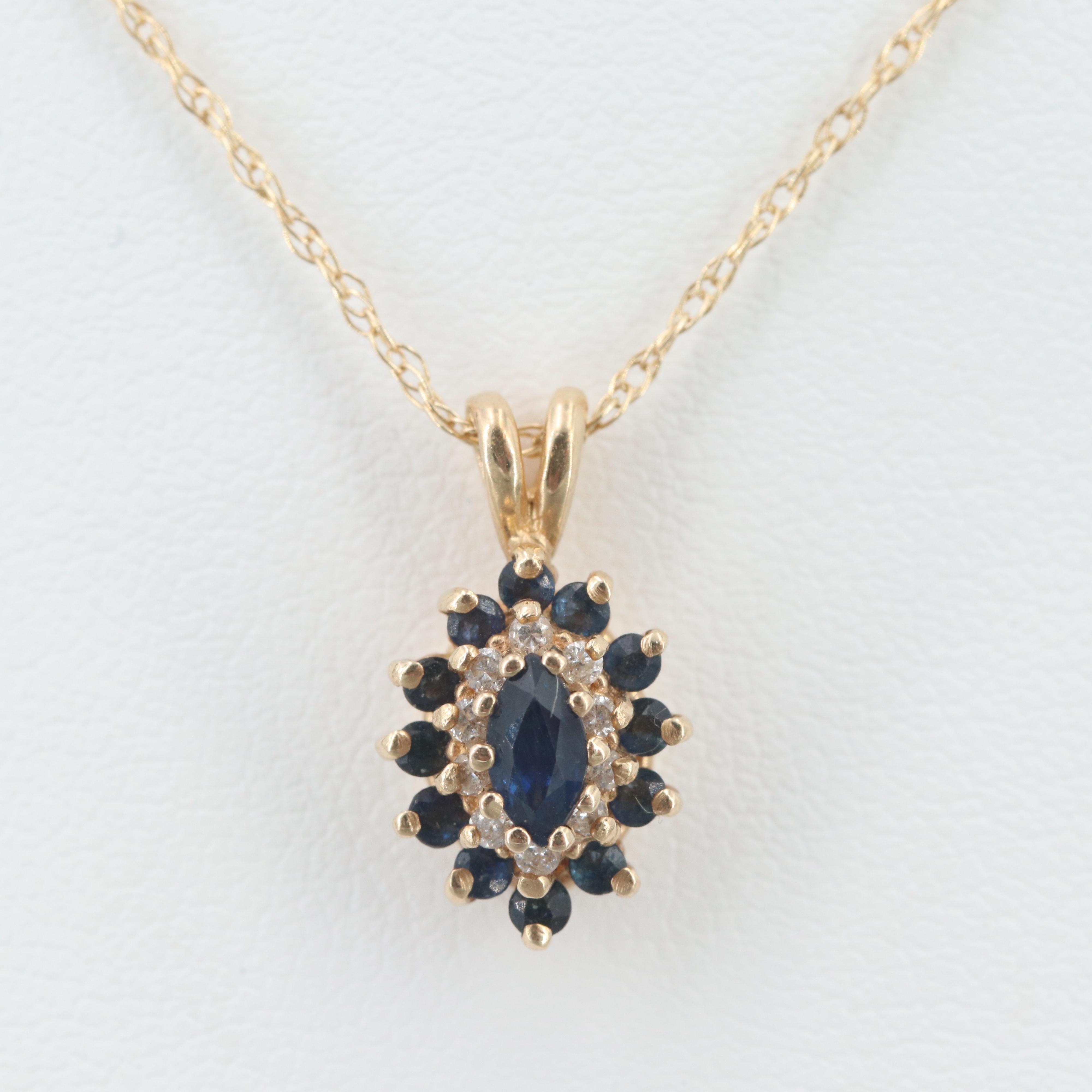 14K Yellow Gold Sapphire and Diamond Pendant Necklace