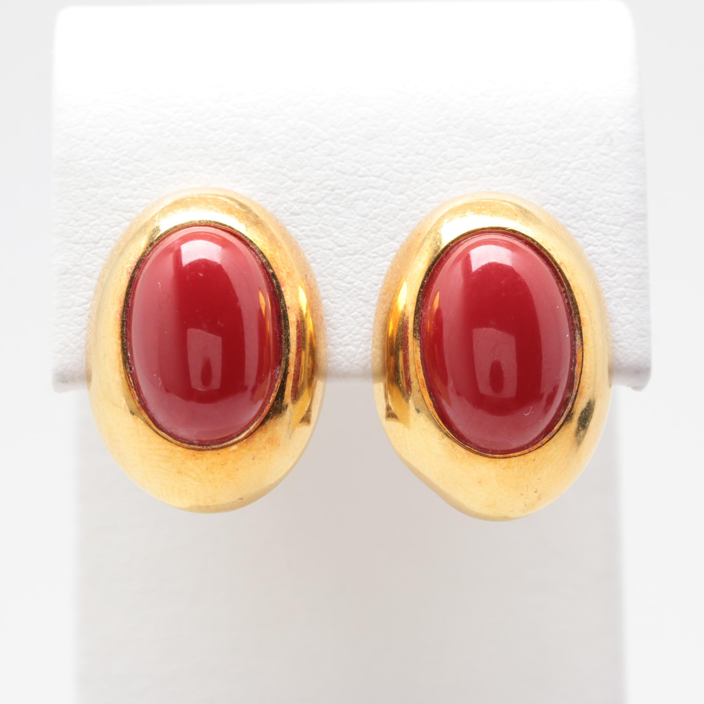 14K and 18K Yellow Gold Red Coral Earrings