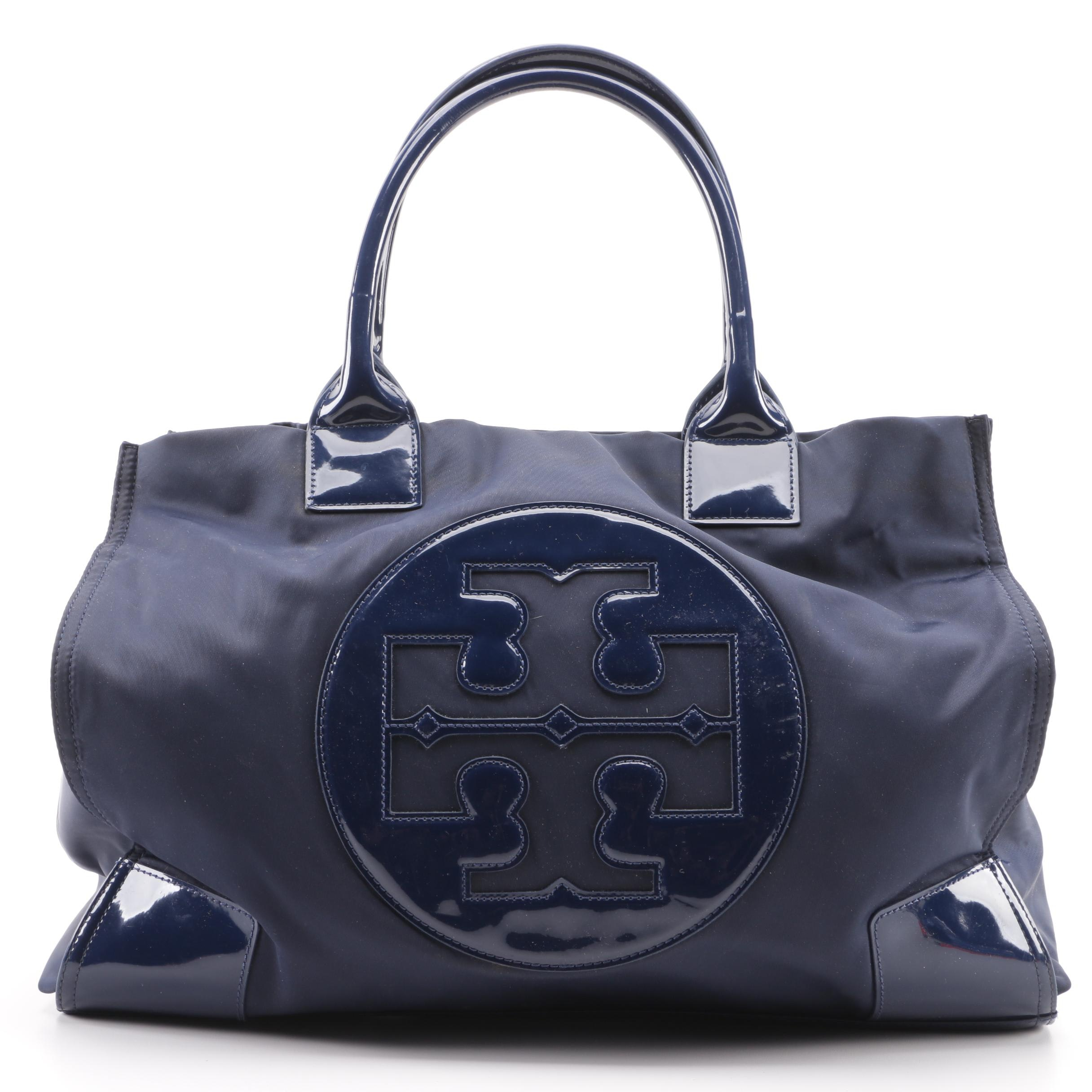 Tory Burch Ella Large Navy Blue Nylon and Patent Leather Tote