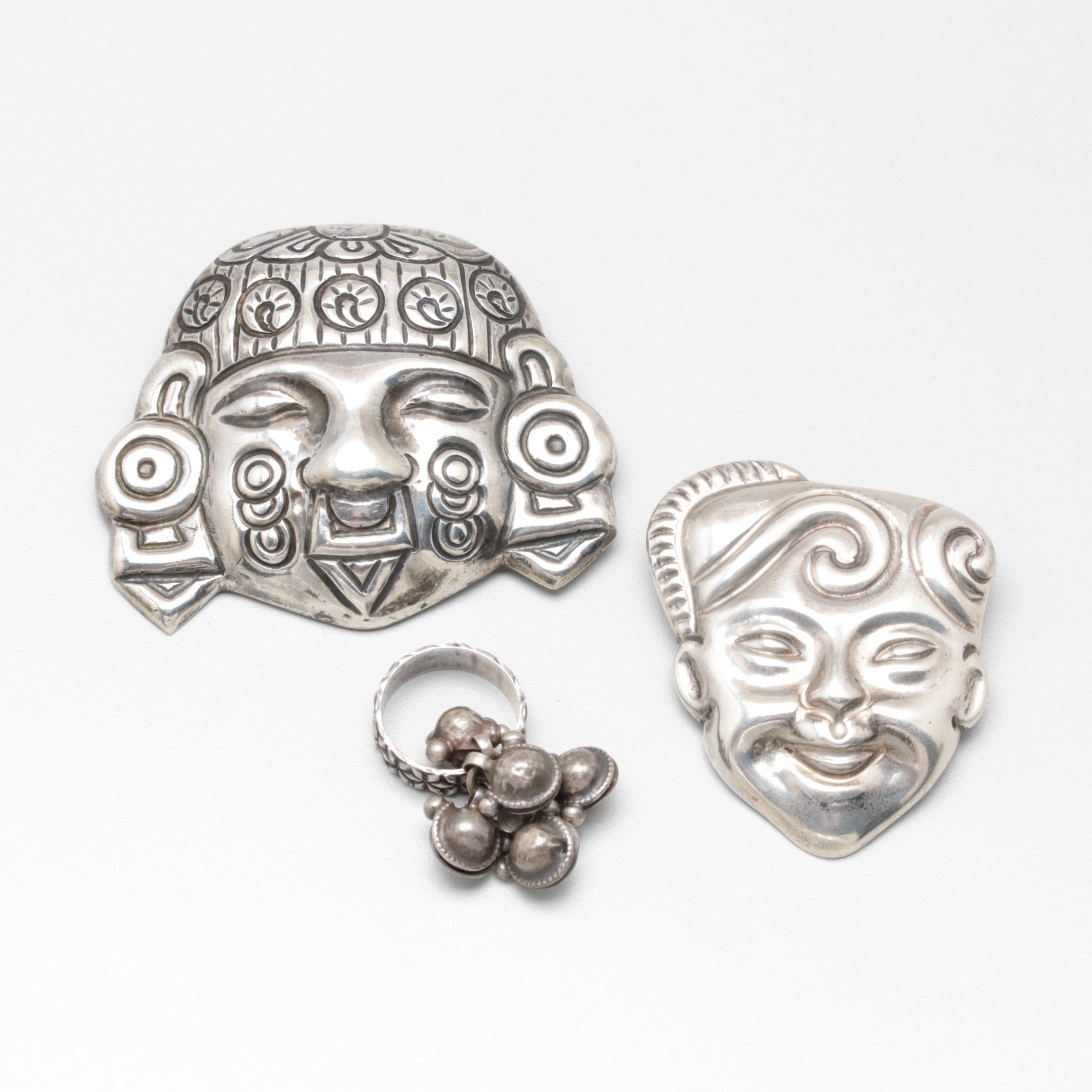 Mexican Sterling Silver Ring and Brooches