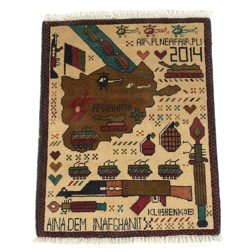 "Hand-Knotted Afghan ""War"" Wool Accent Rug"