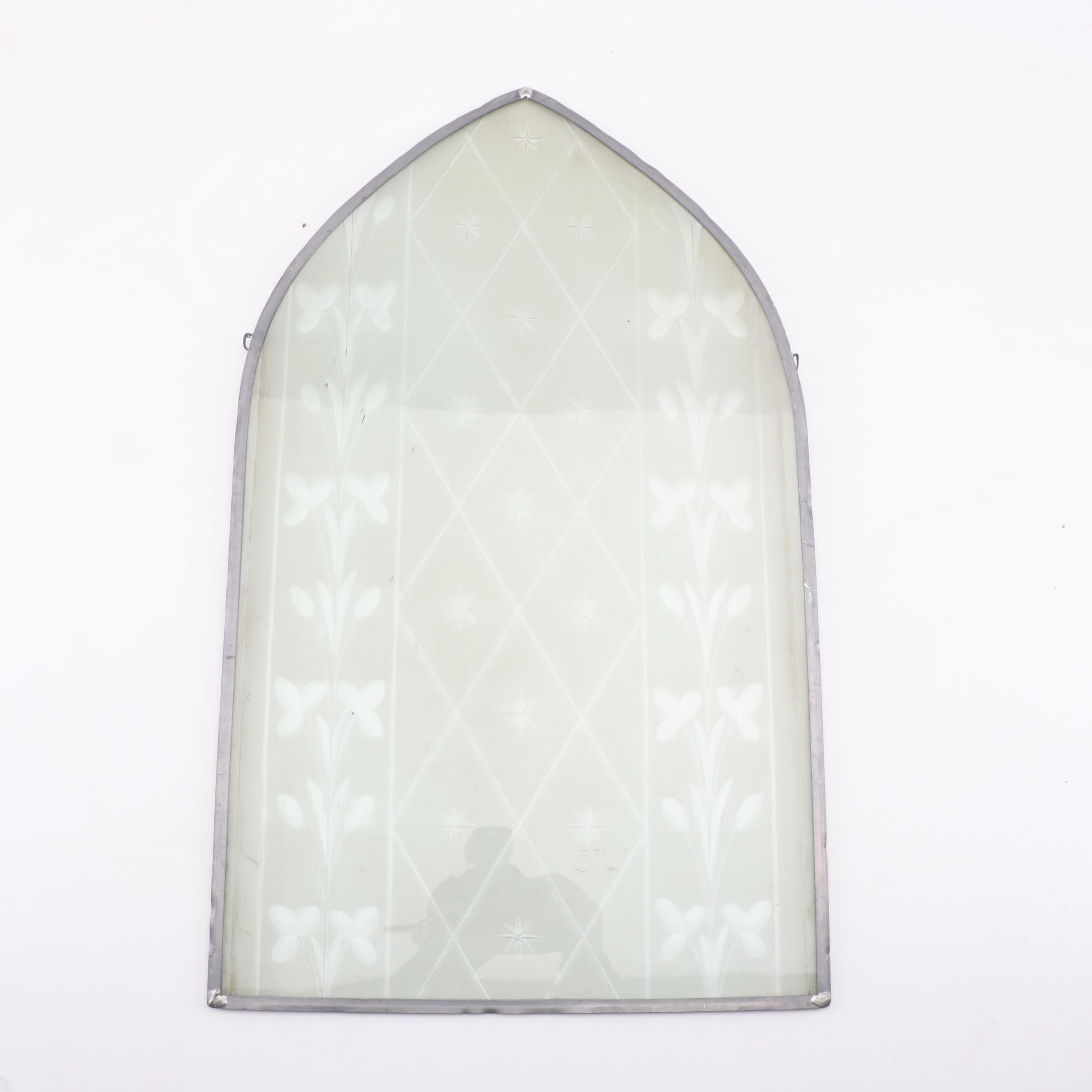 Etched Glass Cathedral Window Hanging Panel