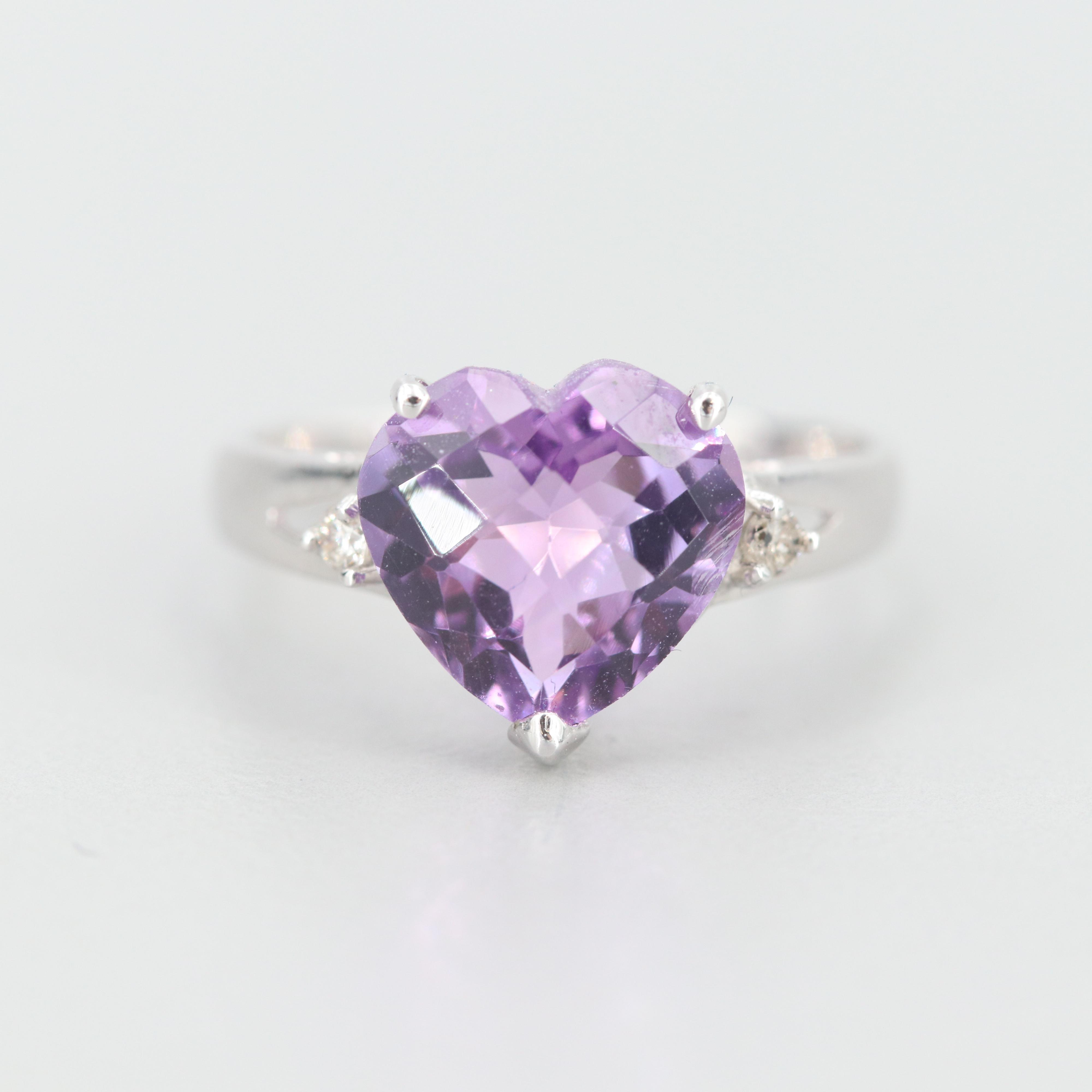 14K White Gold Amethyst and Diamond Heart Ring