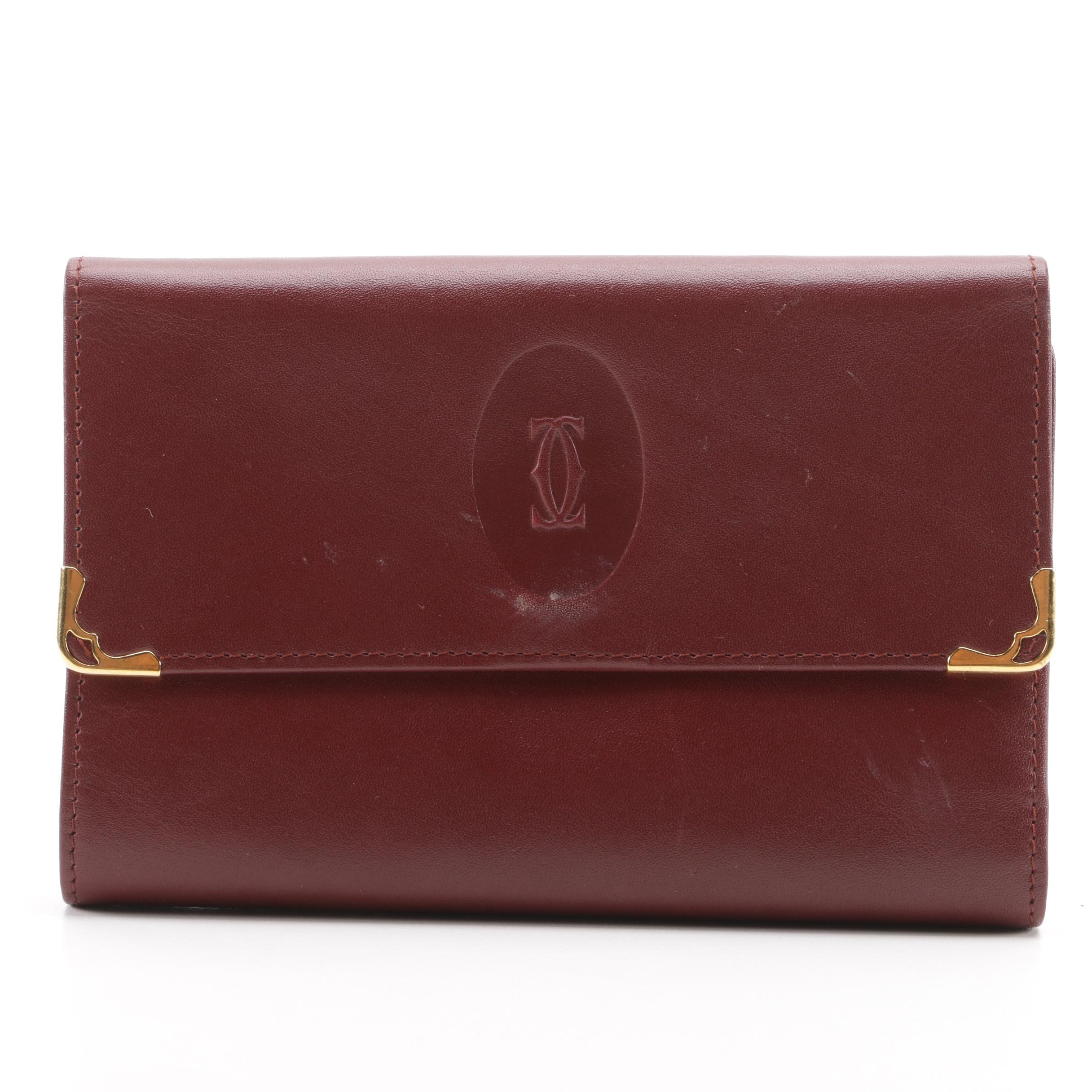Must de Cartier Paris Burgundy Leather Portefueille