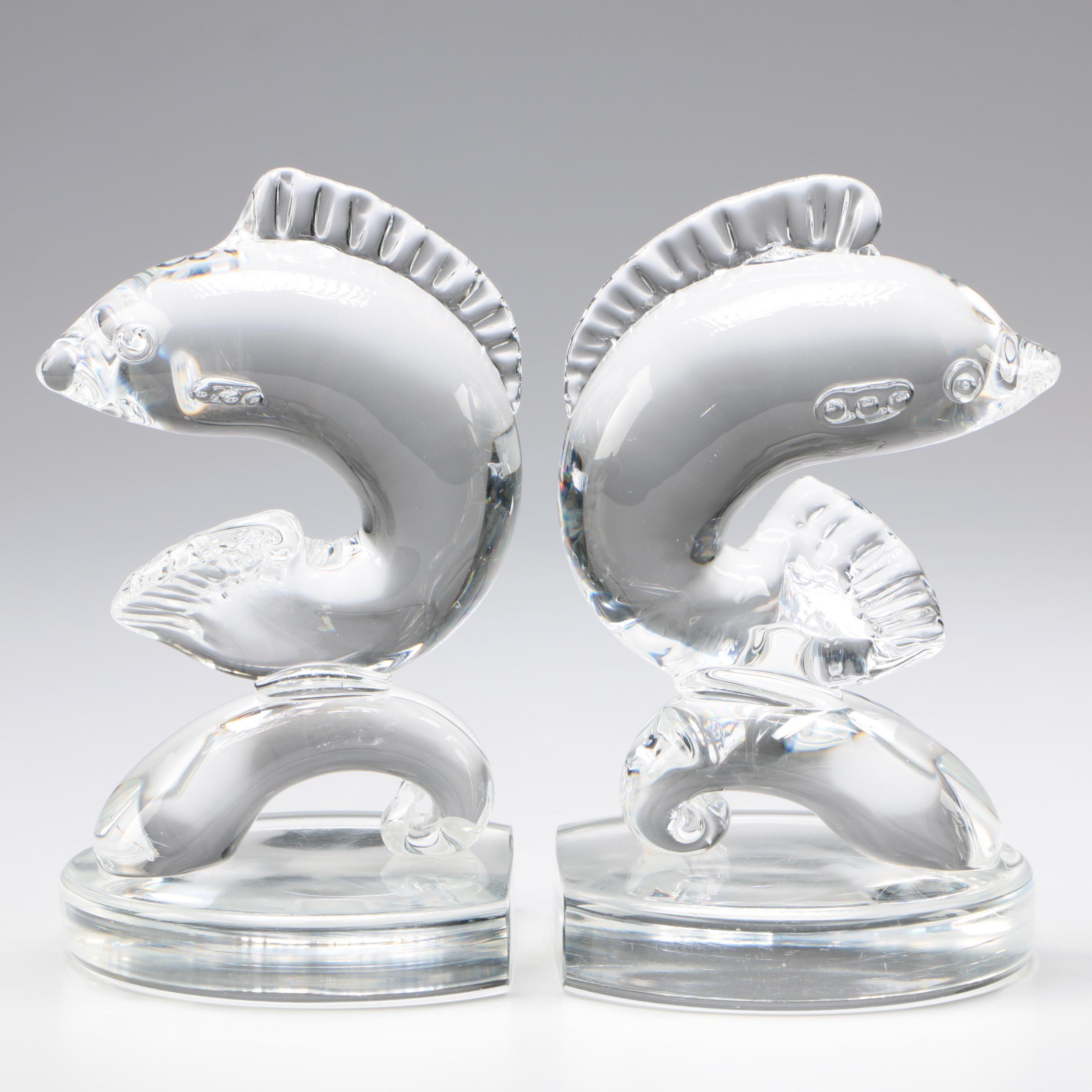 "Steuben Art Glass ""Dolphin"" Bookends, c.1930 - 1940s"