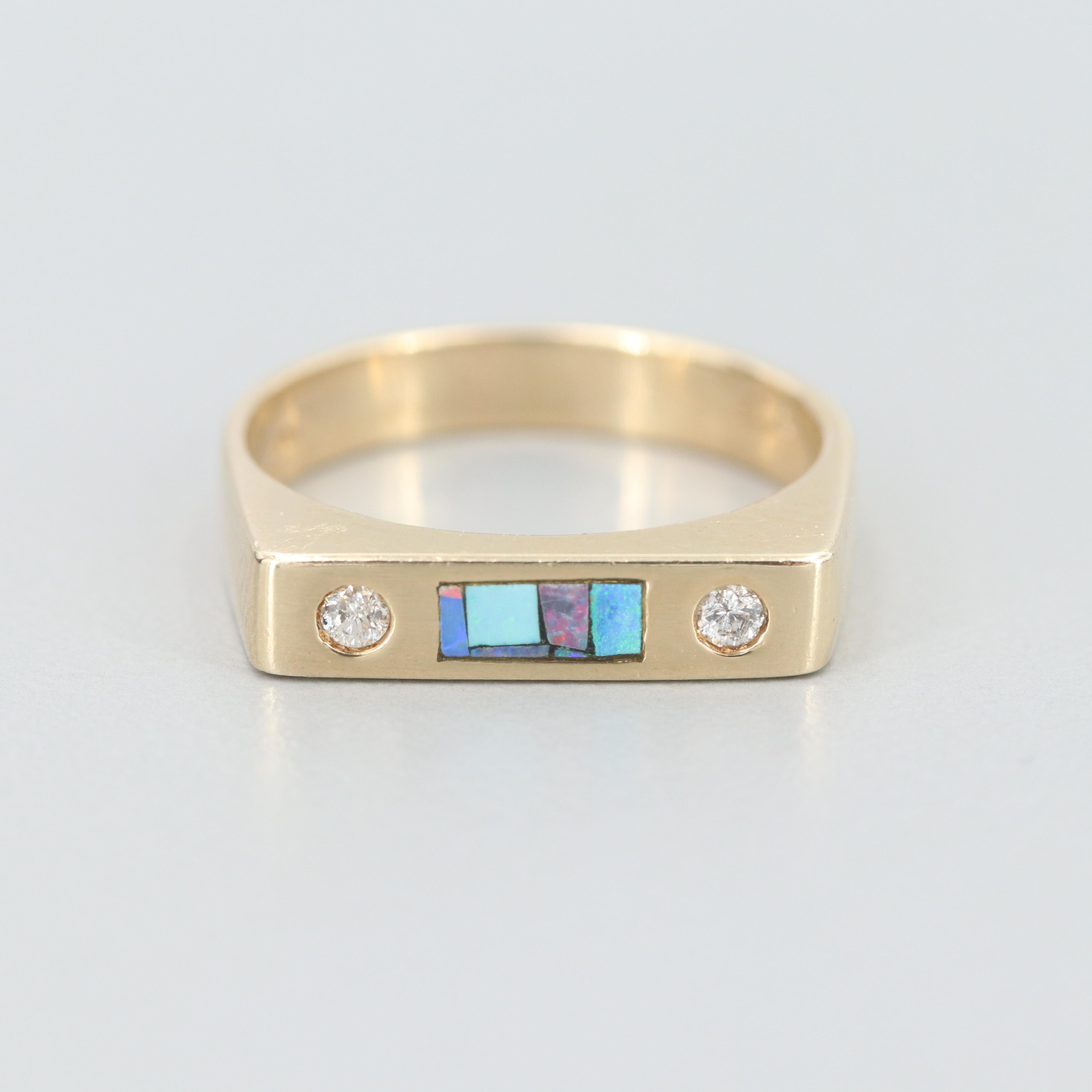 14K Yellow Gold Diamond and Opal Inlay Ring