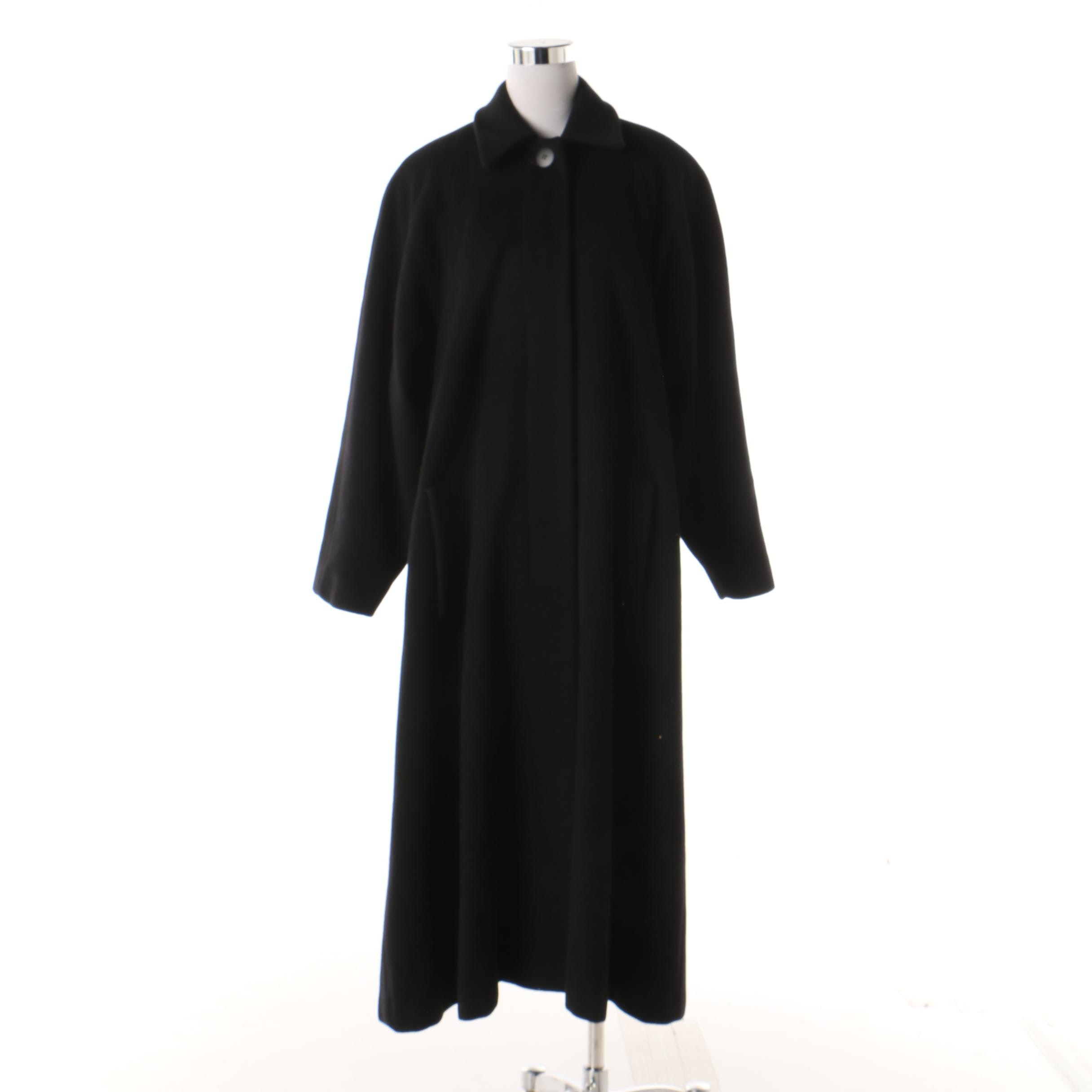 Women's Vintage Christian Dior Black Wool Swing Coat