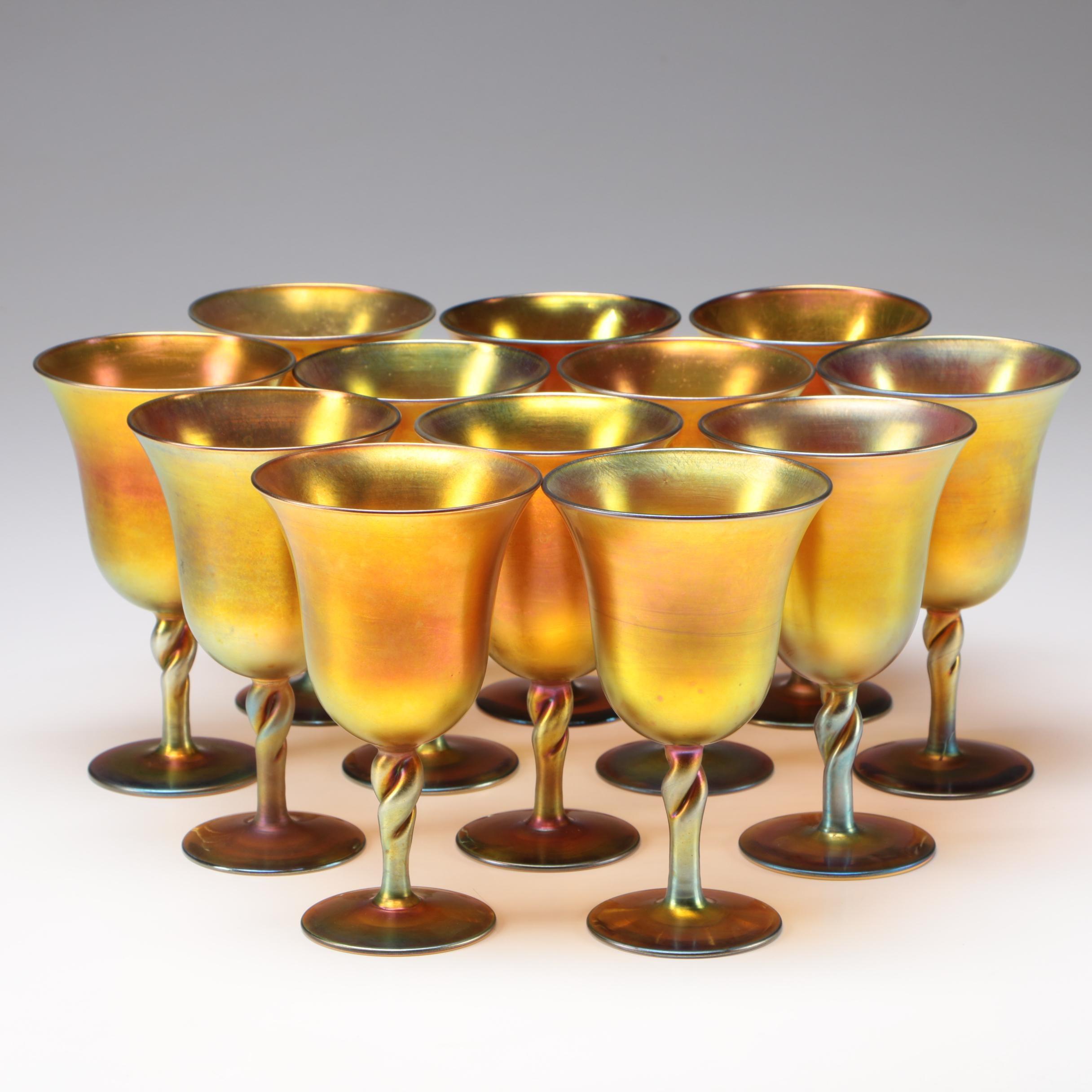 Steuben Art Glass Gold Aurene Goblet Set Designed by Frederick Carder, c.1923