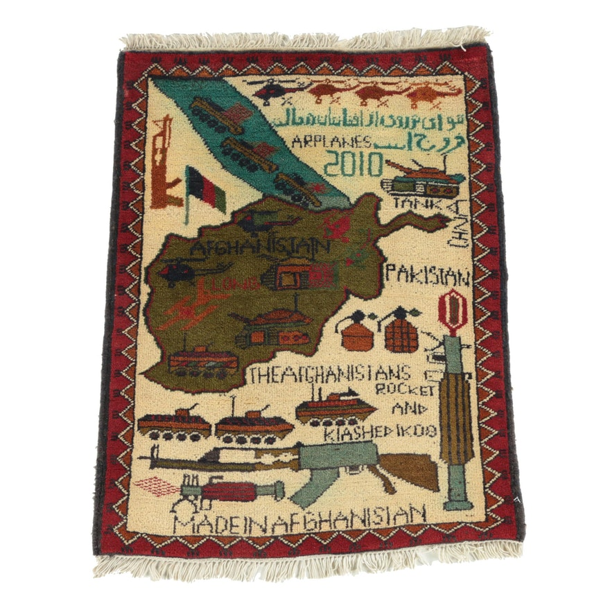 """Hand-Knotted Afghan """"War"""" Wool Accent Rug"""