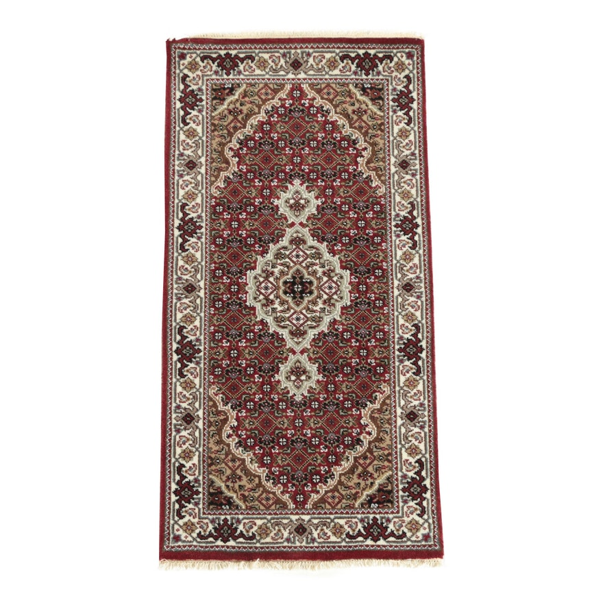Hand-Knotted Indian Bijar Style Wool Accent Rug