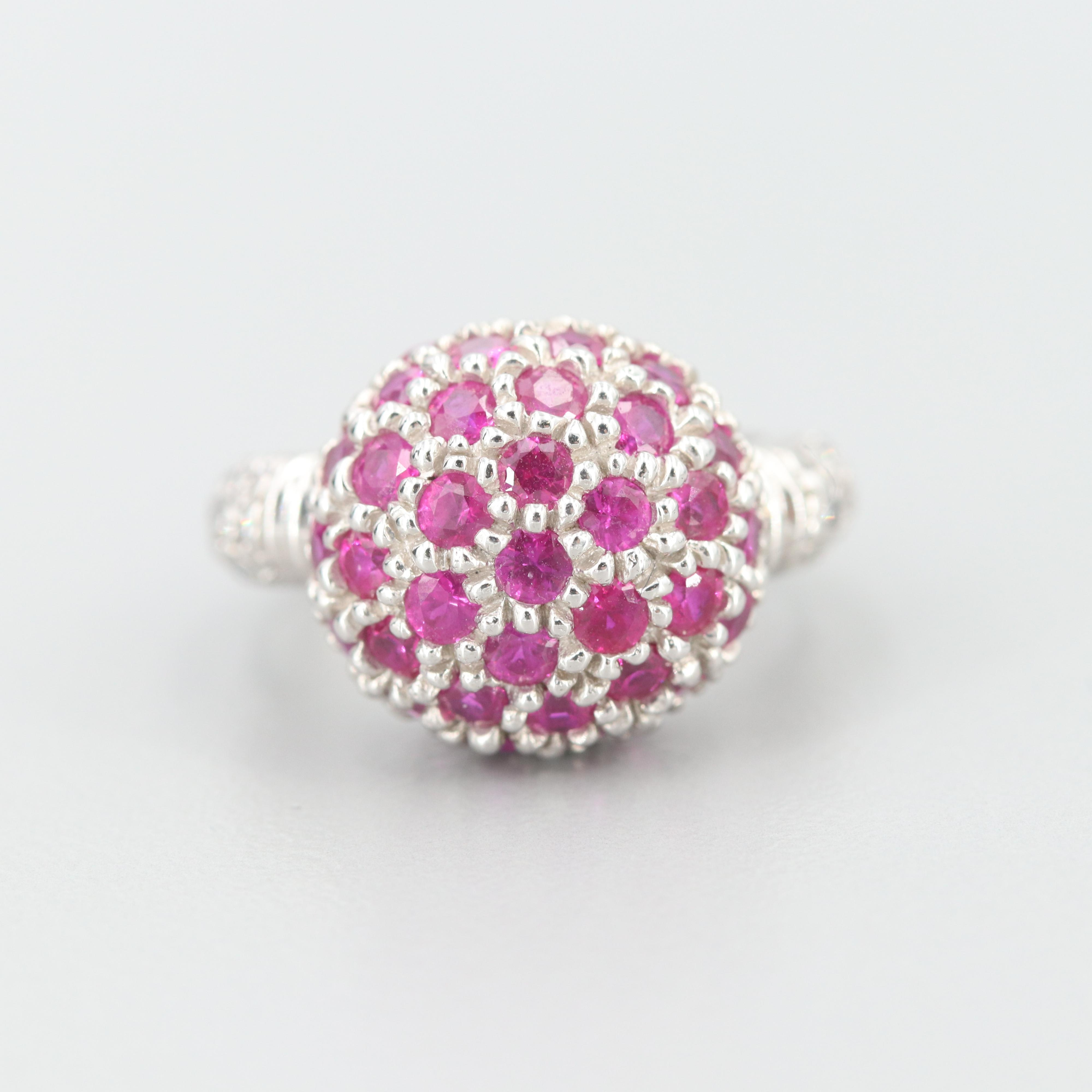 14K White Gold Ruby and Diamond Dome Ring