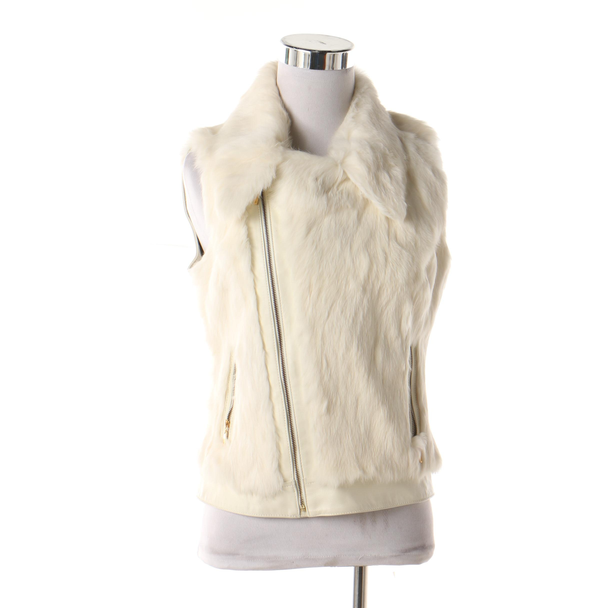 Women's Marciano White Rabbit Fur and Leather Vest
