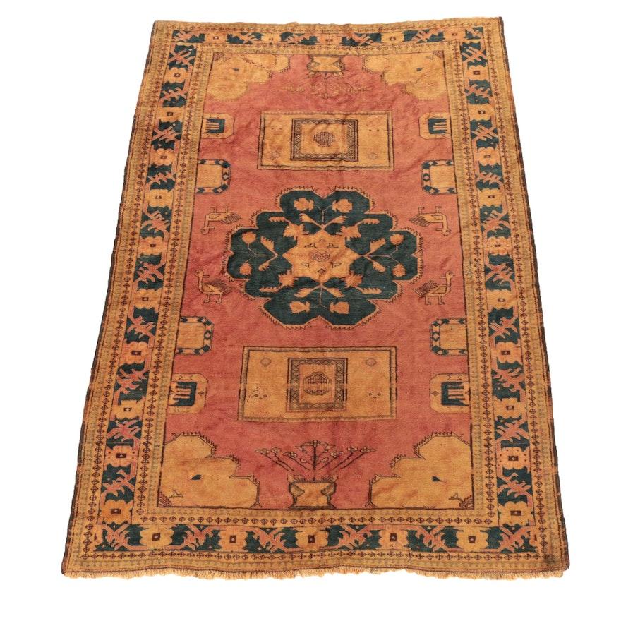 Hand-Knotted Khotan Wool Rug, Mid-Century