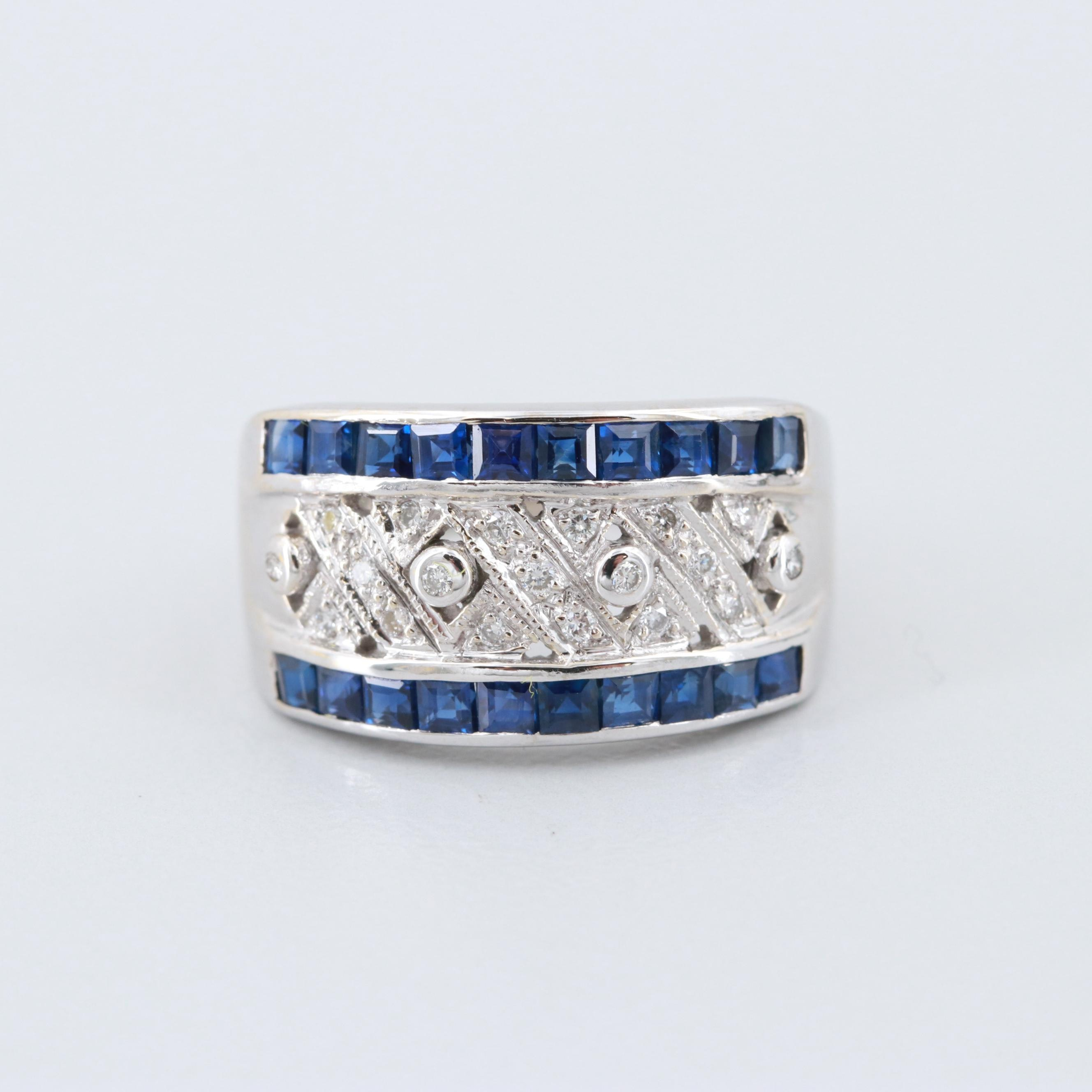LeVian 18K White Gold Blue Sapphire and Diamond Ring