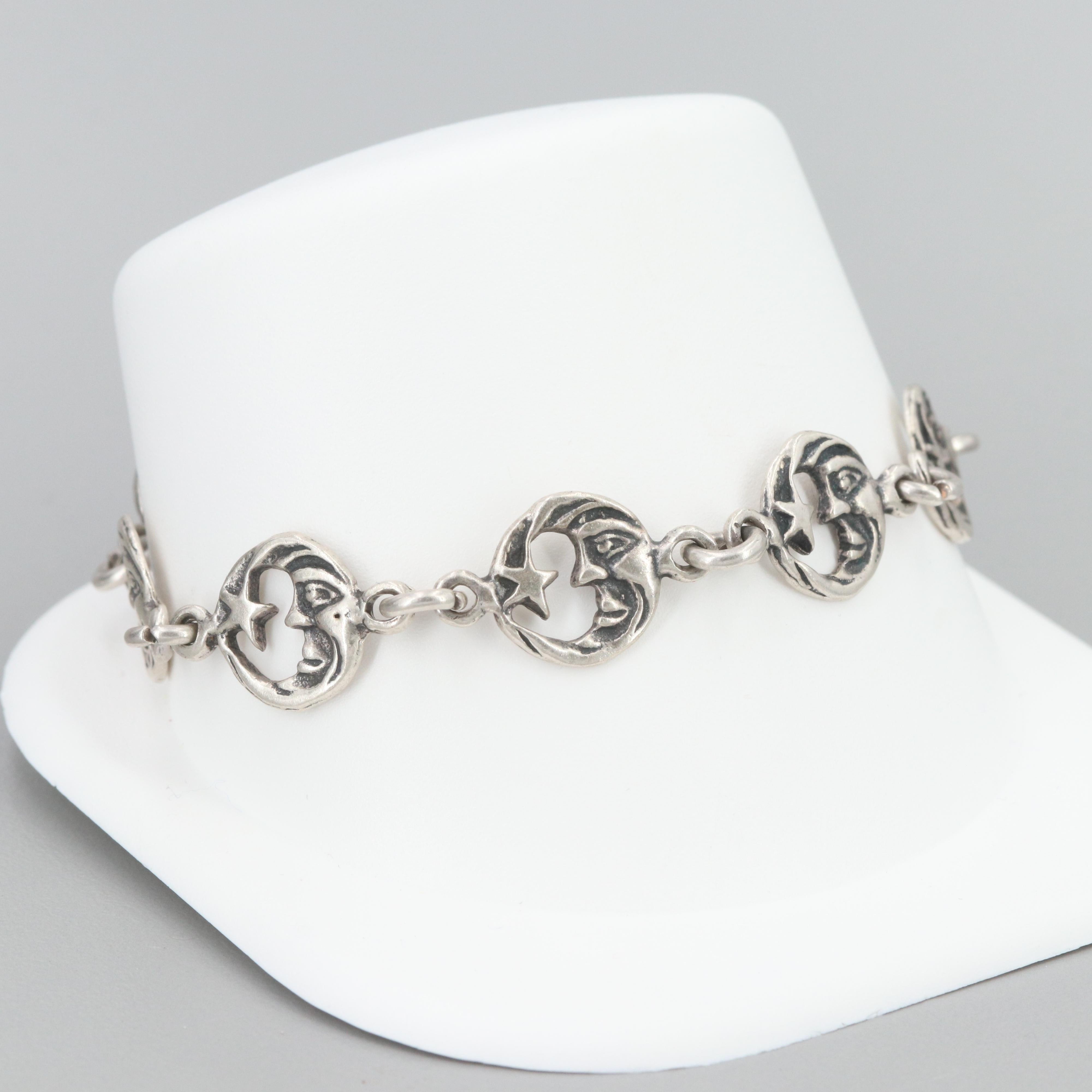 Mexican Sterling Silver Moon and Star Toggle Bracelet