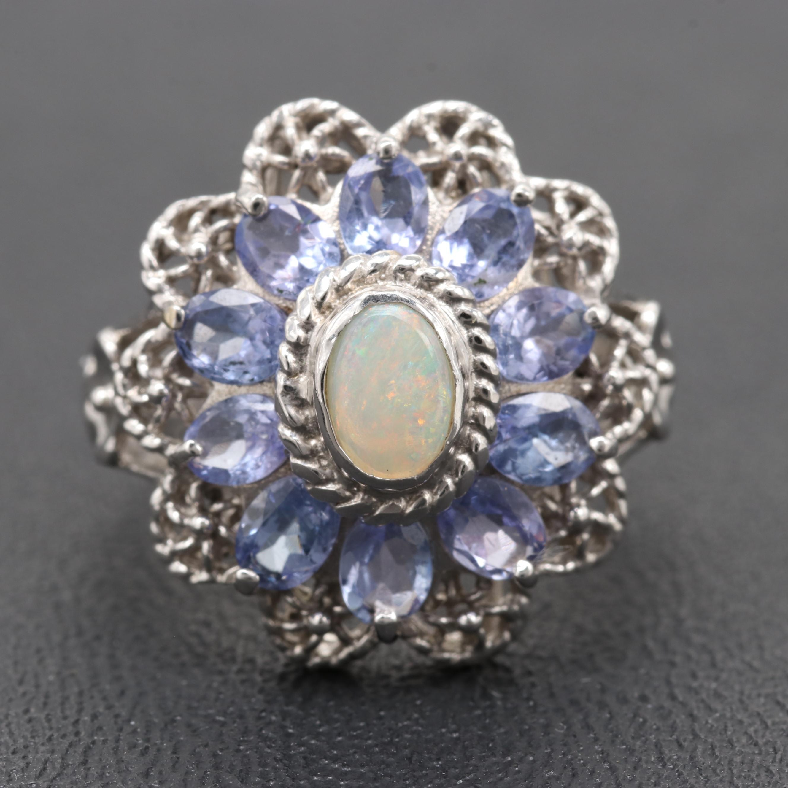 10K White Gold Opal And Tanzanite Ring