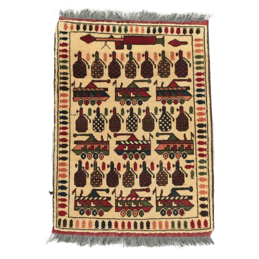 "Hand-Knotted Afghan ""War"" Pictorial Wool Accent Rug"