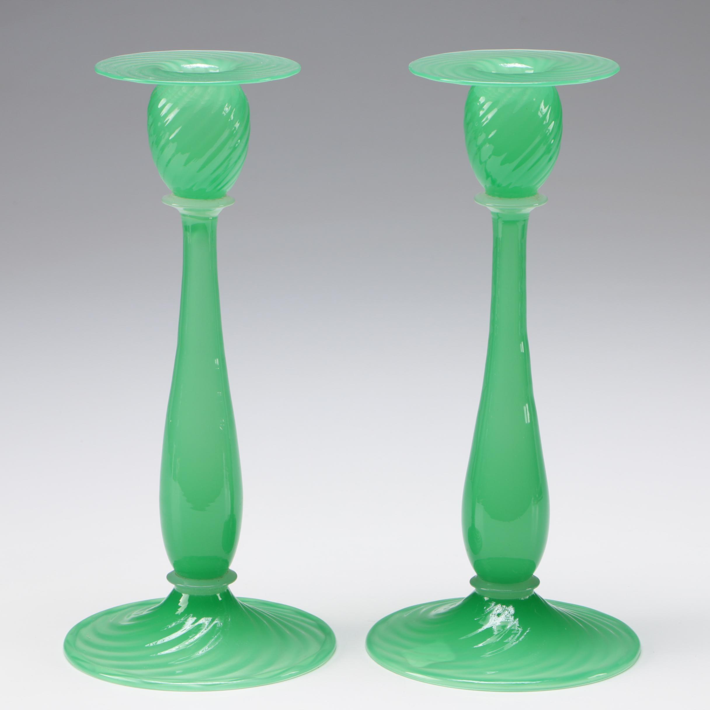 Steuben Art Glass Green Jade Candlesticks, Early 20th Century