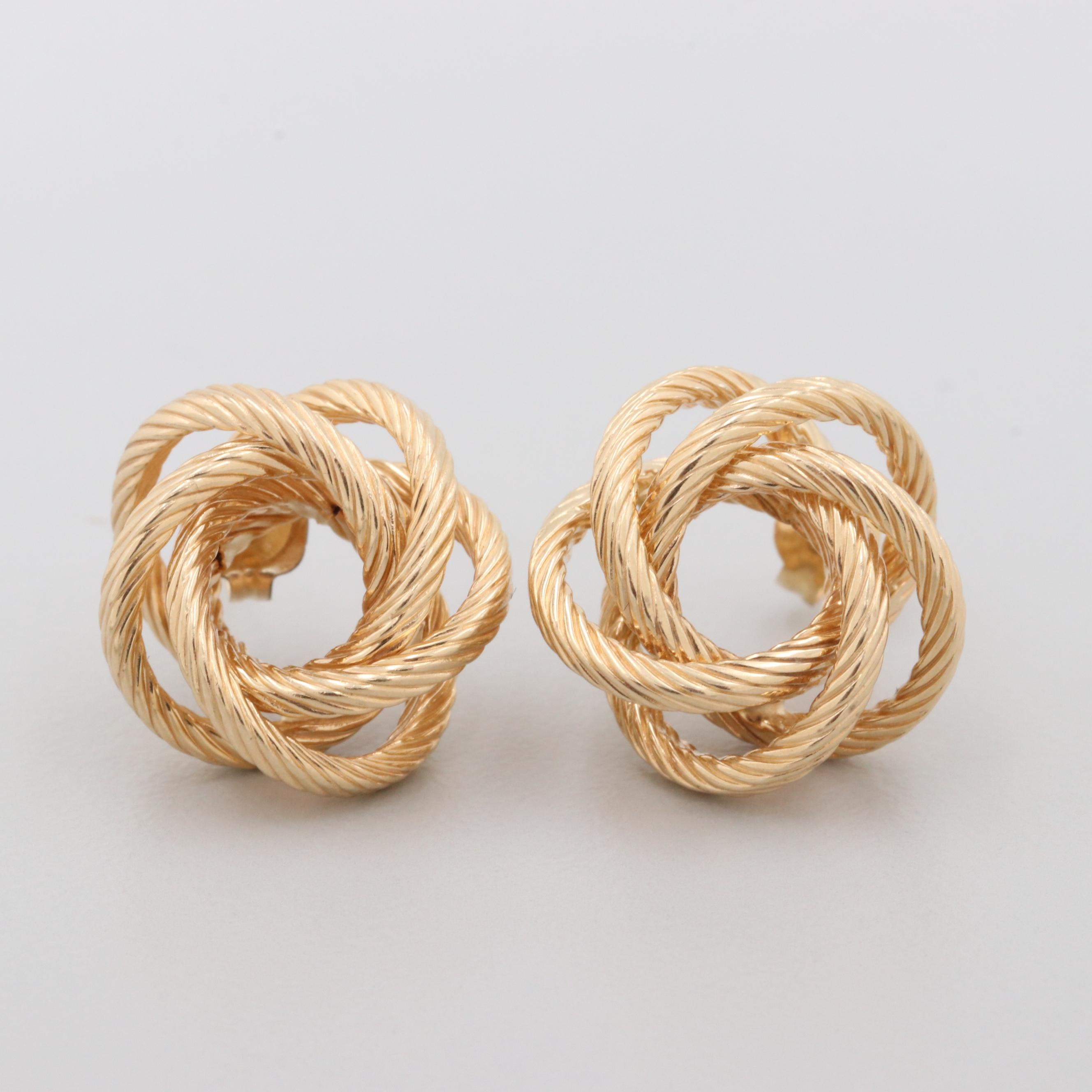 14K Yellow Gold Twisted Knot Earrings
