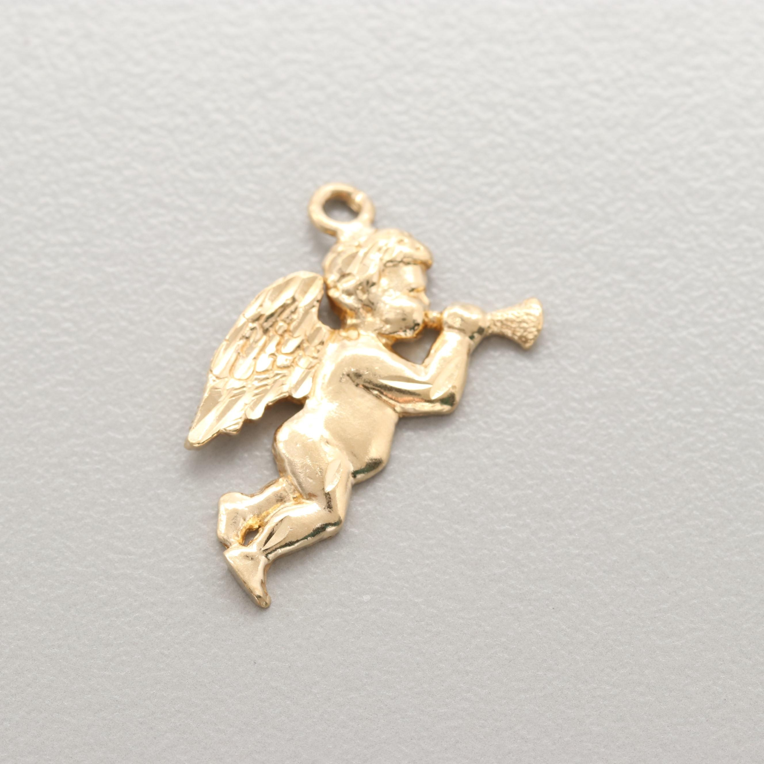 14K Yellow Gold Cherub Charm