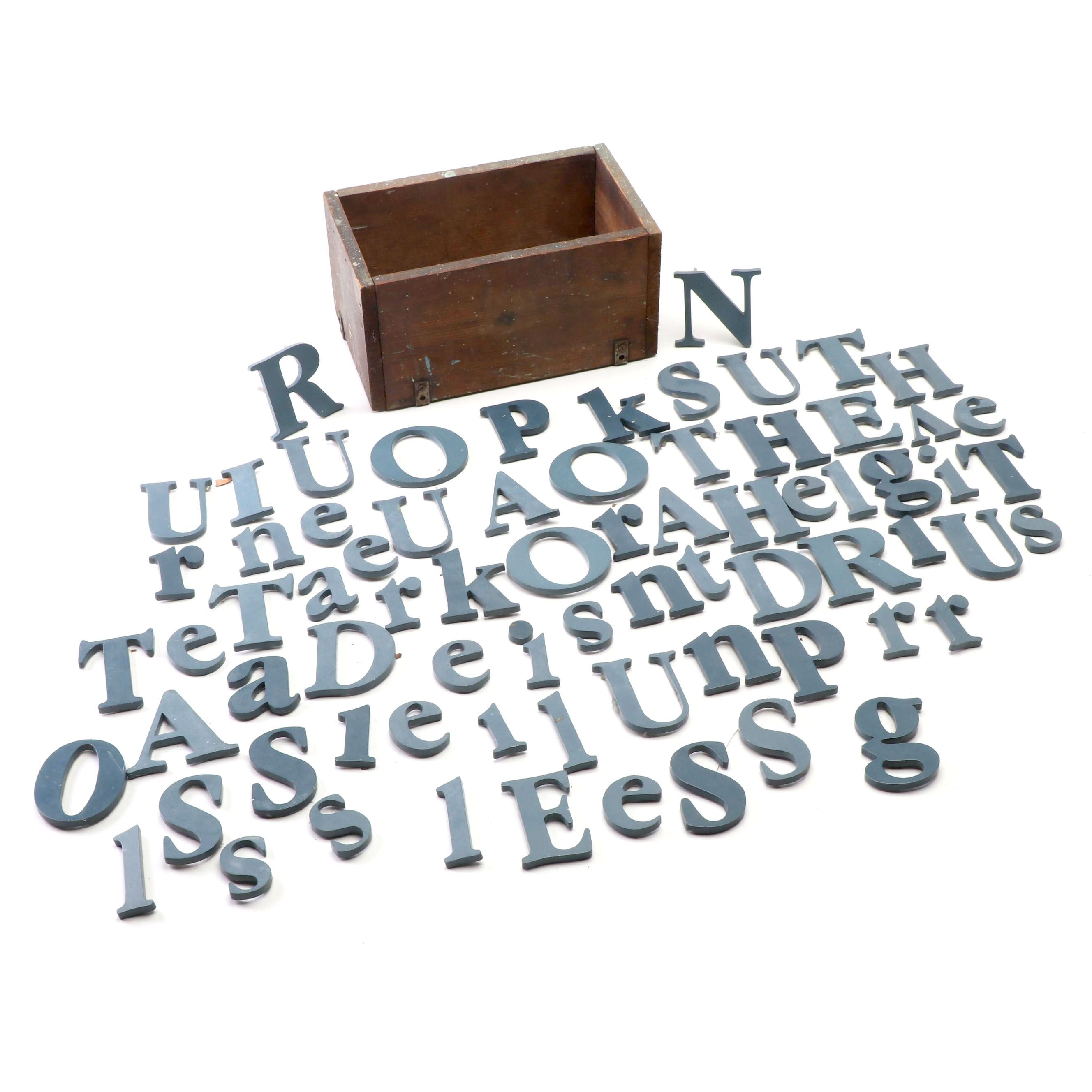 Vintage Lowercase and Uppercase Metal Letters in Wooden Box