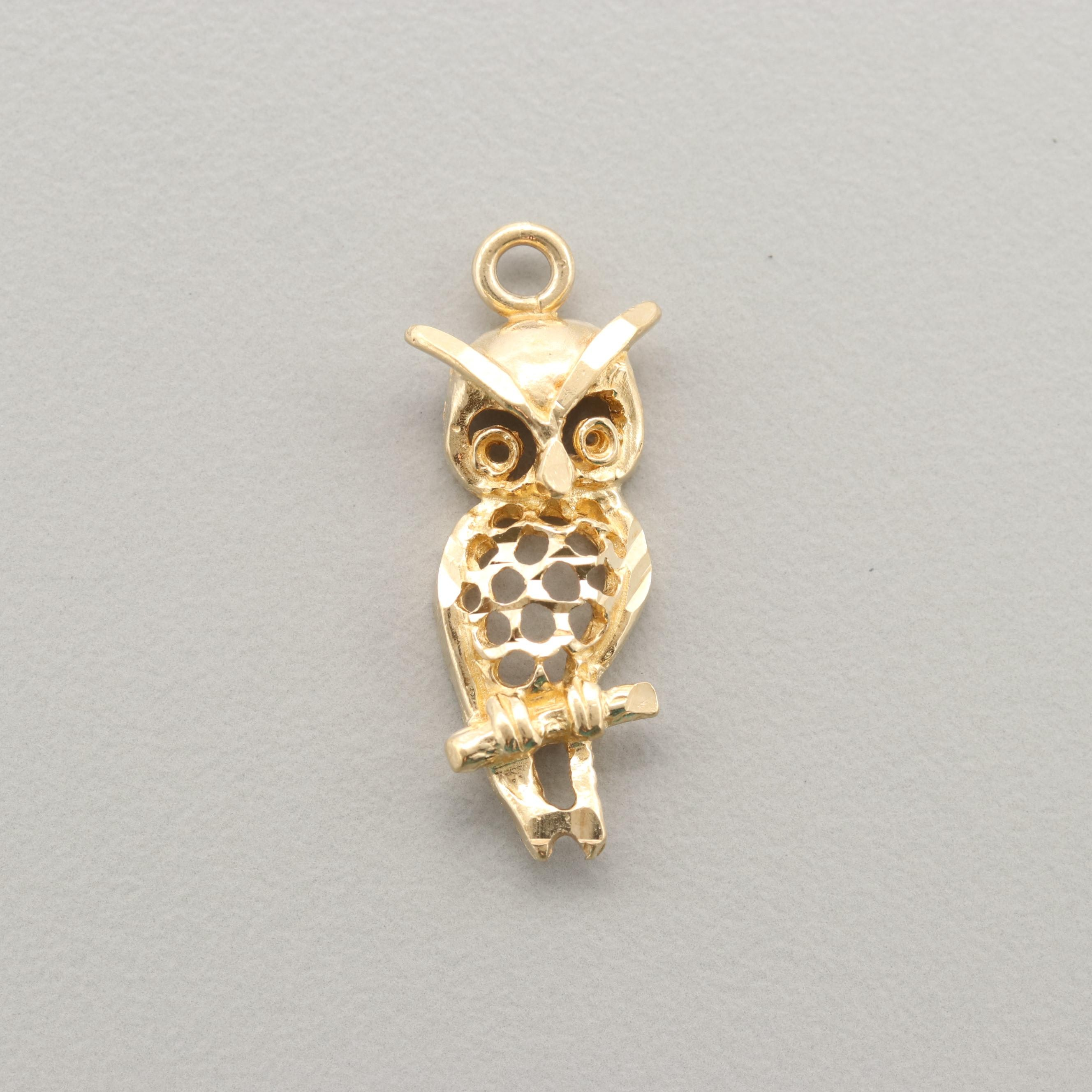 14K Yellow Gold Owl Charm
