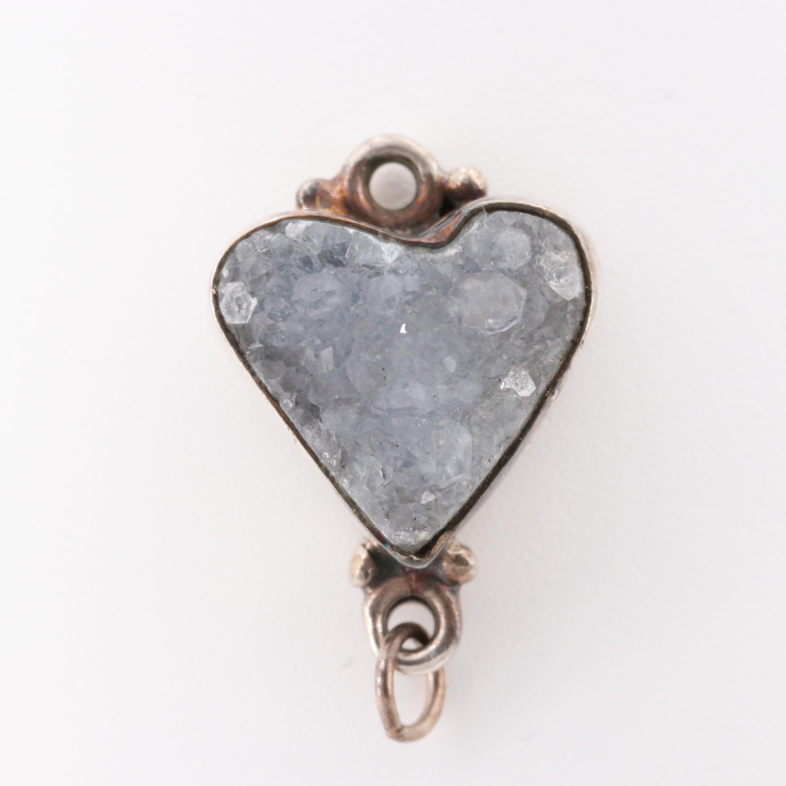 Sterling Silver Druzy Quartz Heart Shape Pendant