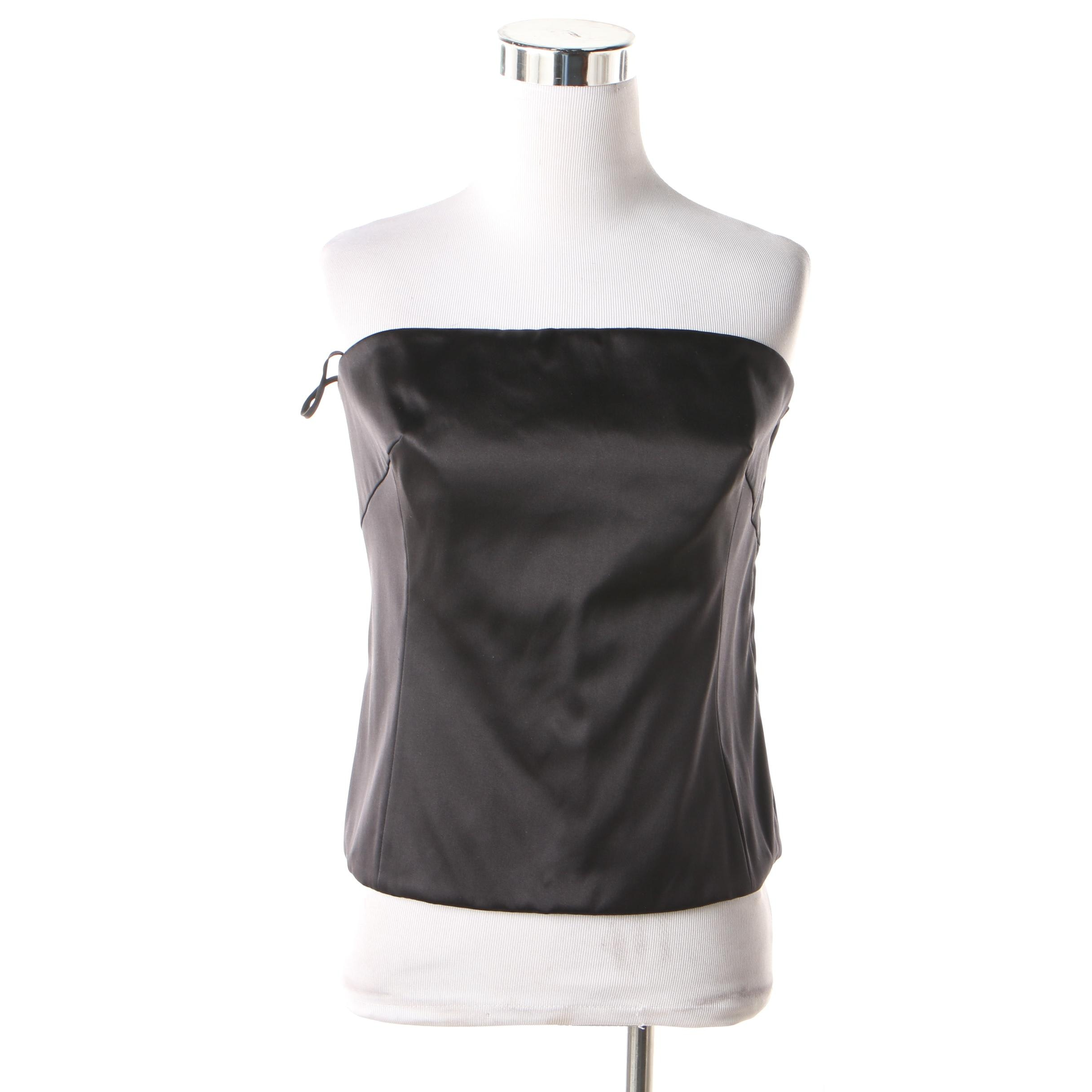 A-K-R-I-S Black Silk Blend Strapless Top from Bergdorf Goodman