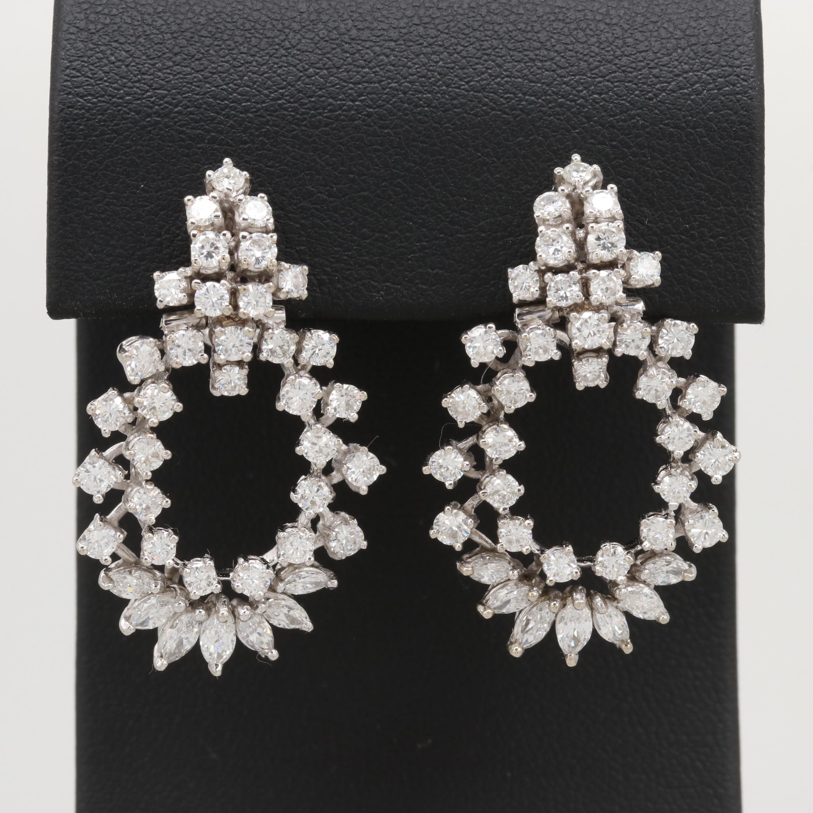 14K White Gold 4.11 CTW Diamond Earrings