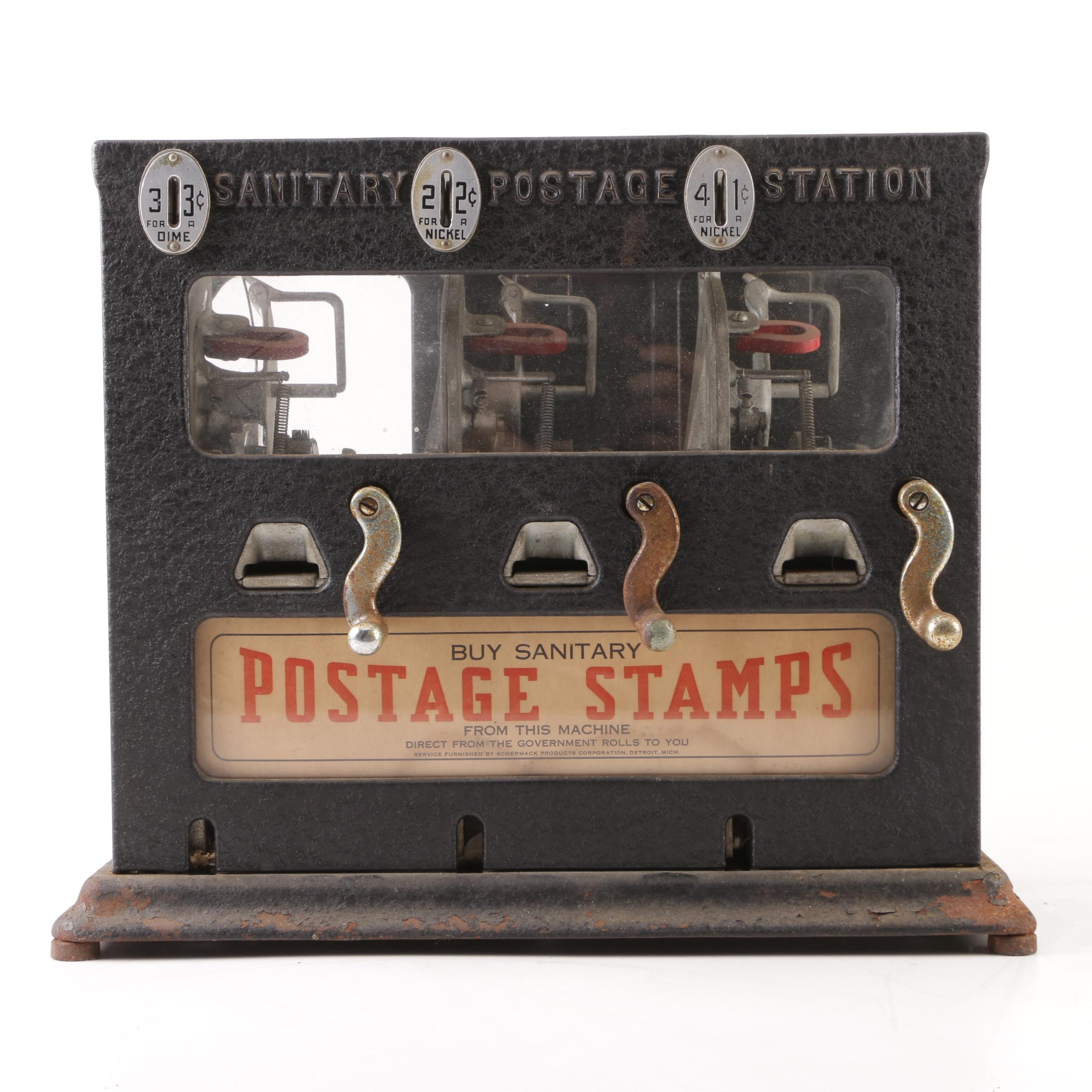 Schermack Products Sanitary Postage Station Stamp Dispenser, Early 20th Century