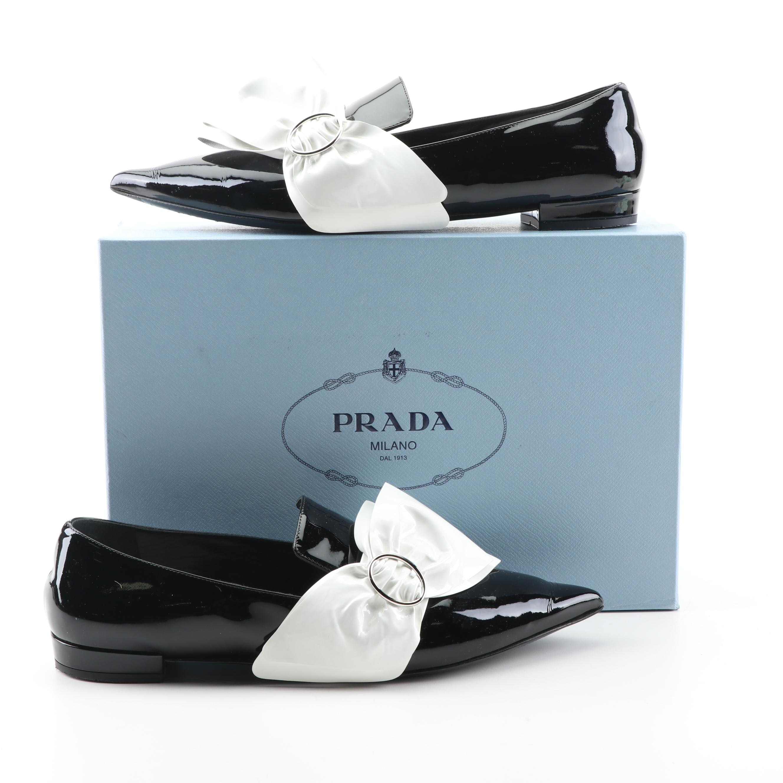 Prada Black Patent Leather Flats with White Oversized Bows