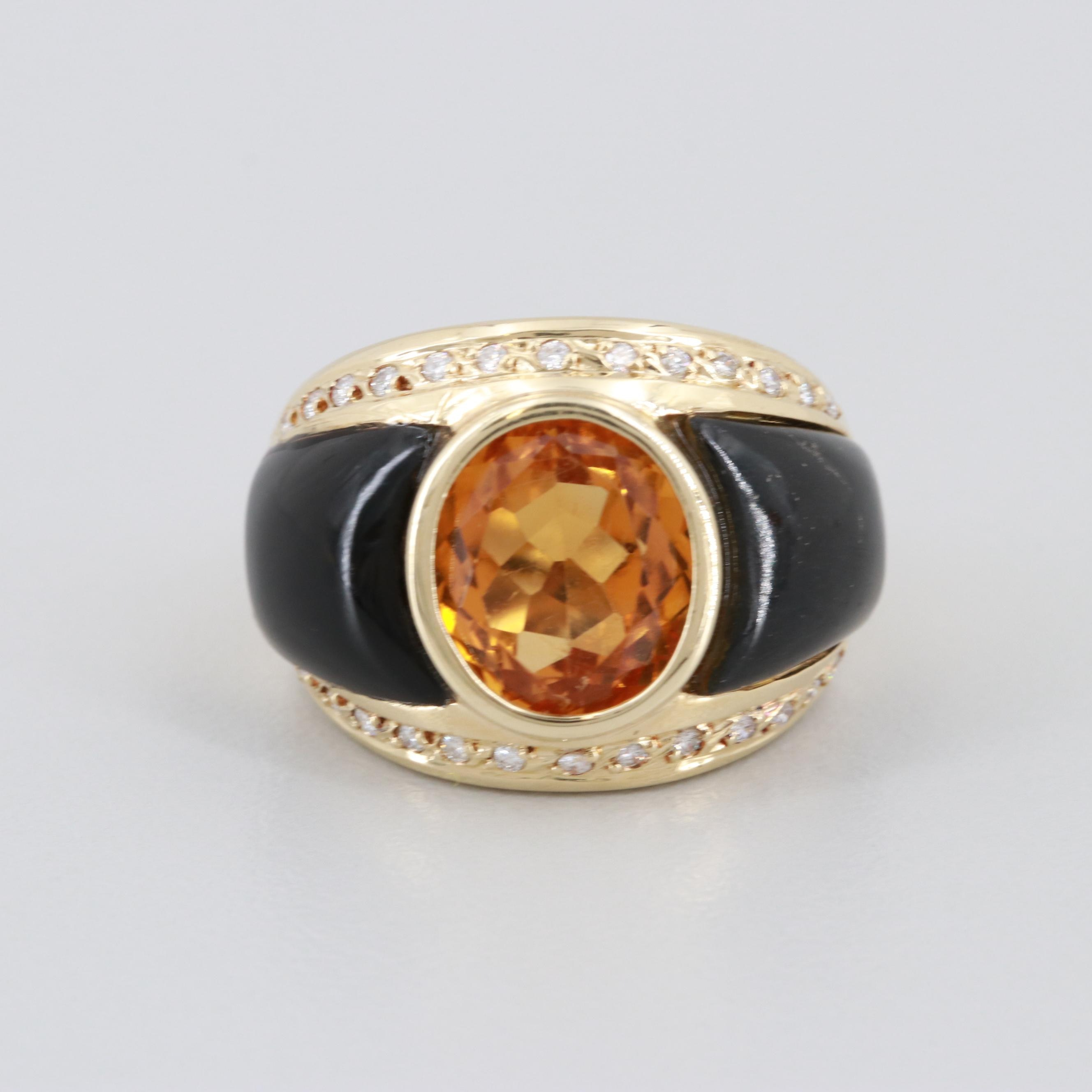 14K Yellow Gold Citrine, Diamond and Black Onyx Inlay Ring