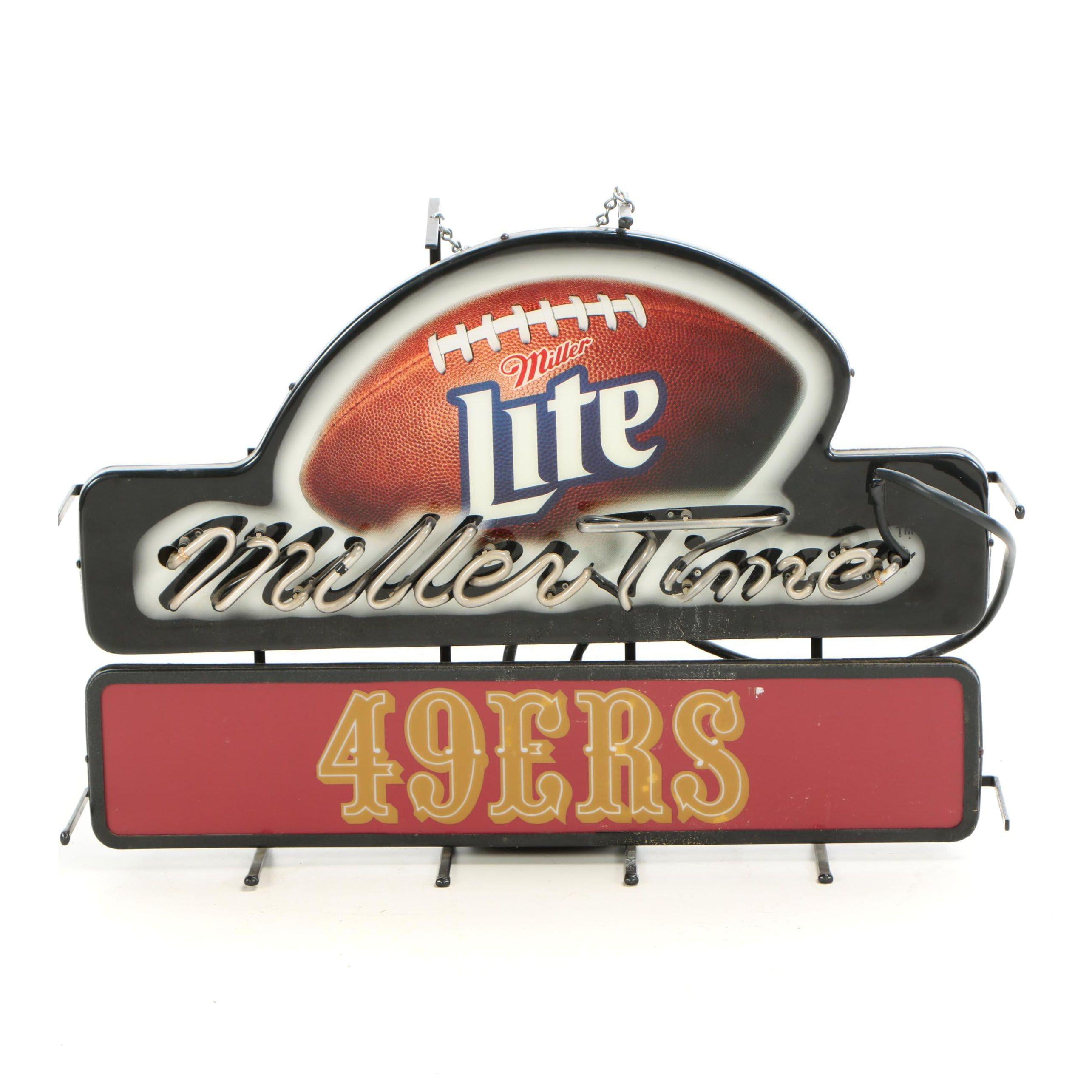 Miller Light San Francisco 49ers Neon Advertising Sign