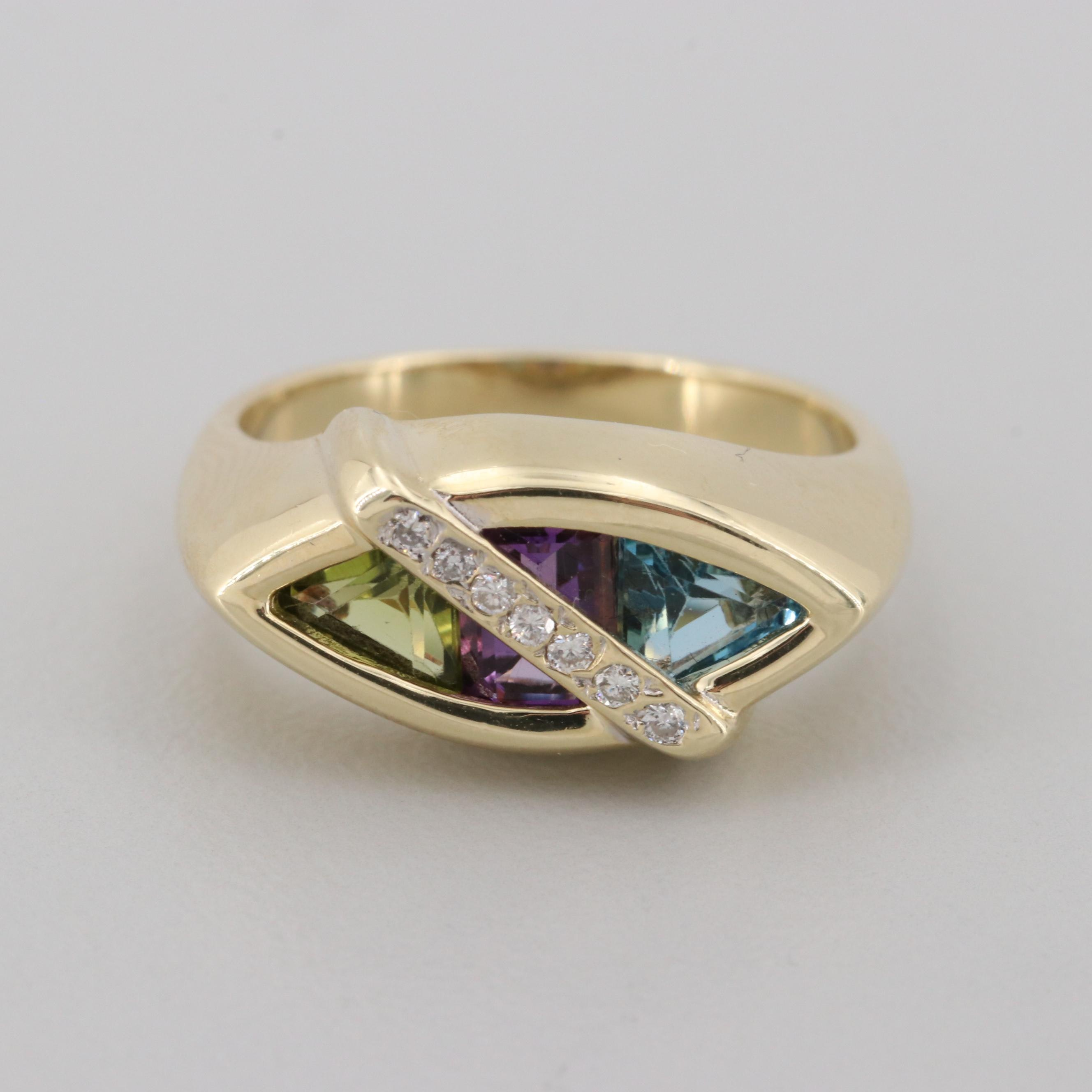 14K Yellow Gold Diamond, Amethyst, Blue Topaz, and Peridot Ring