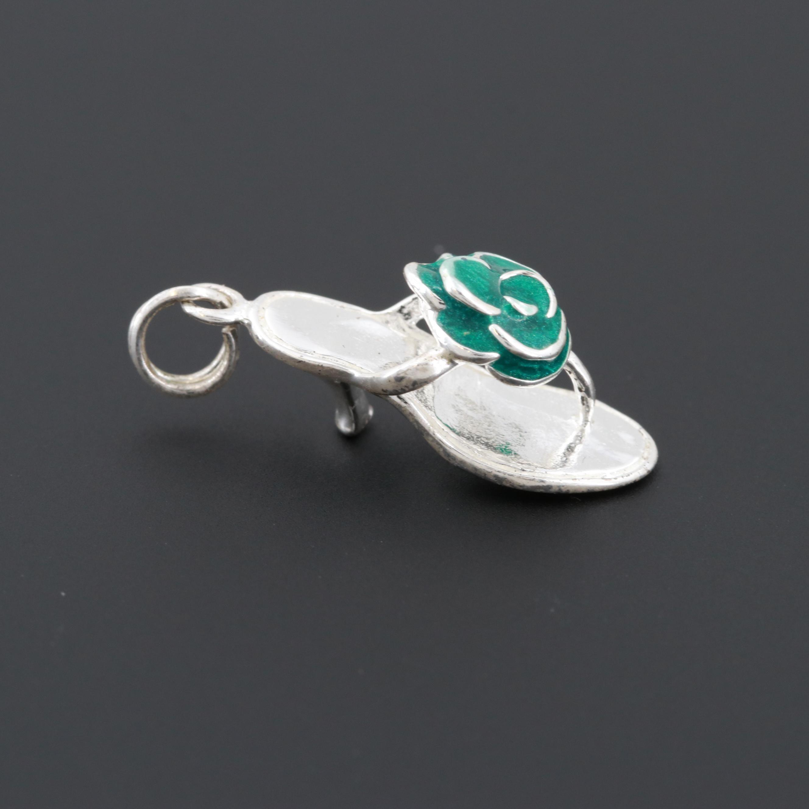 Sterling Silver Enamel Slide Shoe Pendant