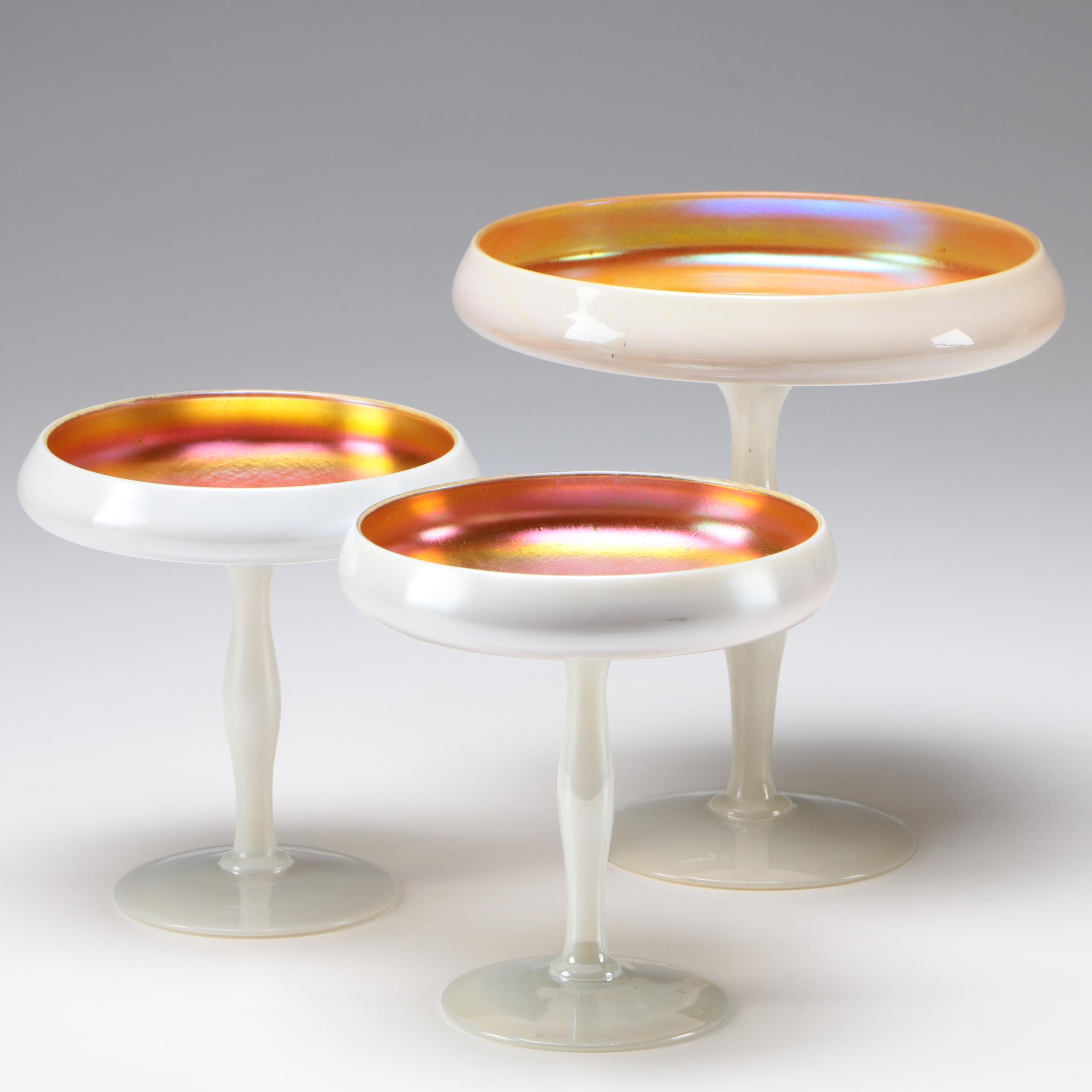 Steuben Art Glass Gold Calcite with Gold Aurene Lining Compotes