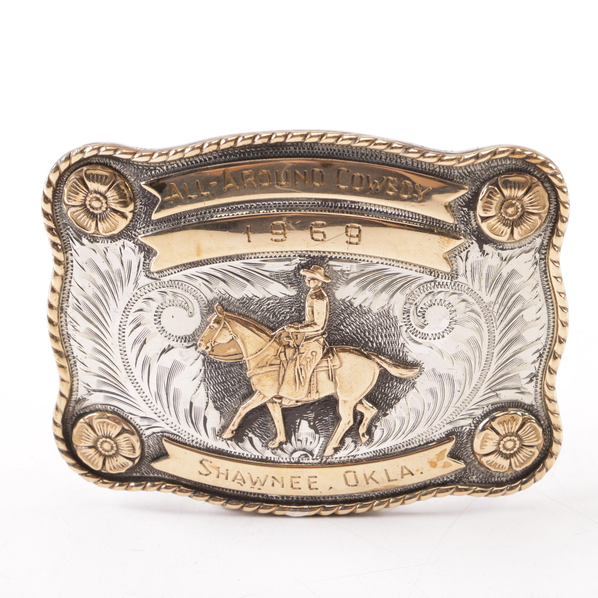 1969 Irvine & Jachens Sterling Silver Rodeo Trophy Buckle