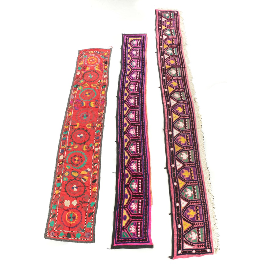 Middle Eastern or Indian Hand-Embroidered and Embellished Textile Wall Hangings