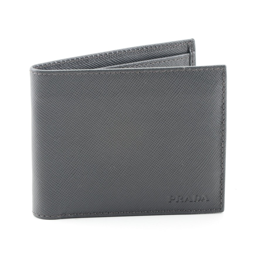 57b3fcc912e350 Prada Black Saffiano Leather Bifold Wallet : EBTH