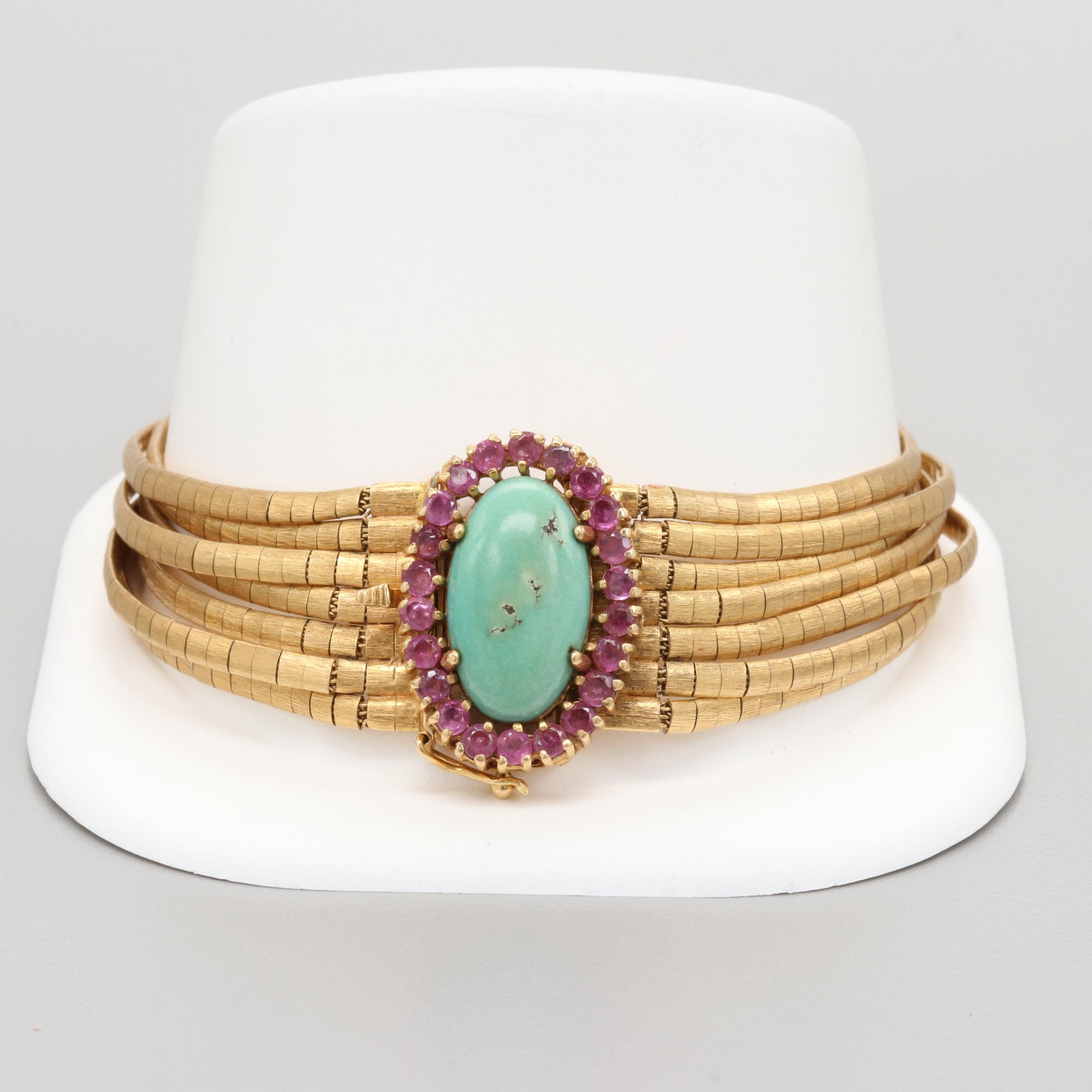 18K Yellow Gold Turquoise and Ruby Bracelet