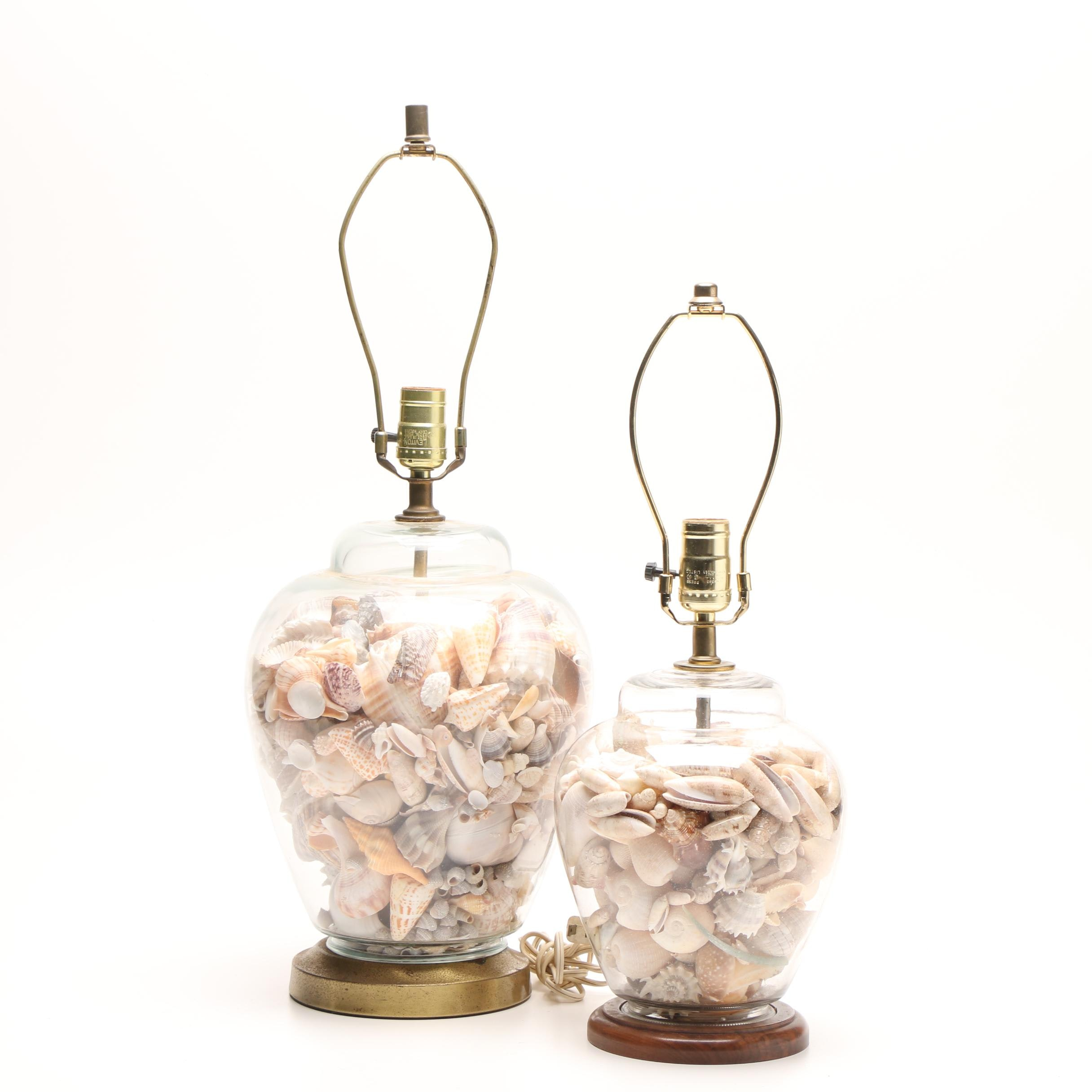 Clear Glass Seashell Filled Table Lamps