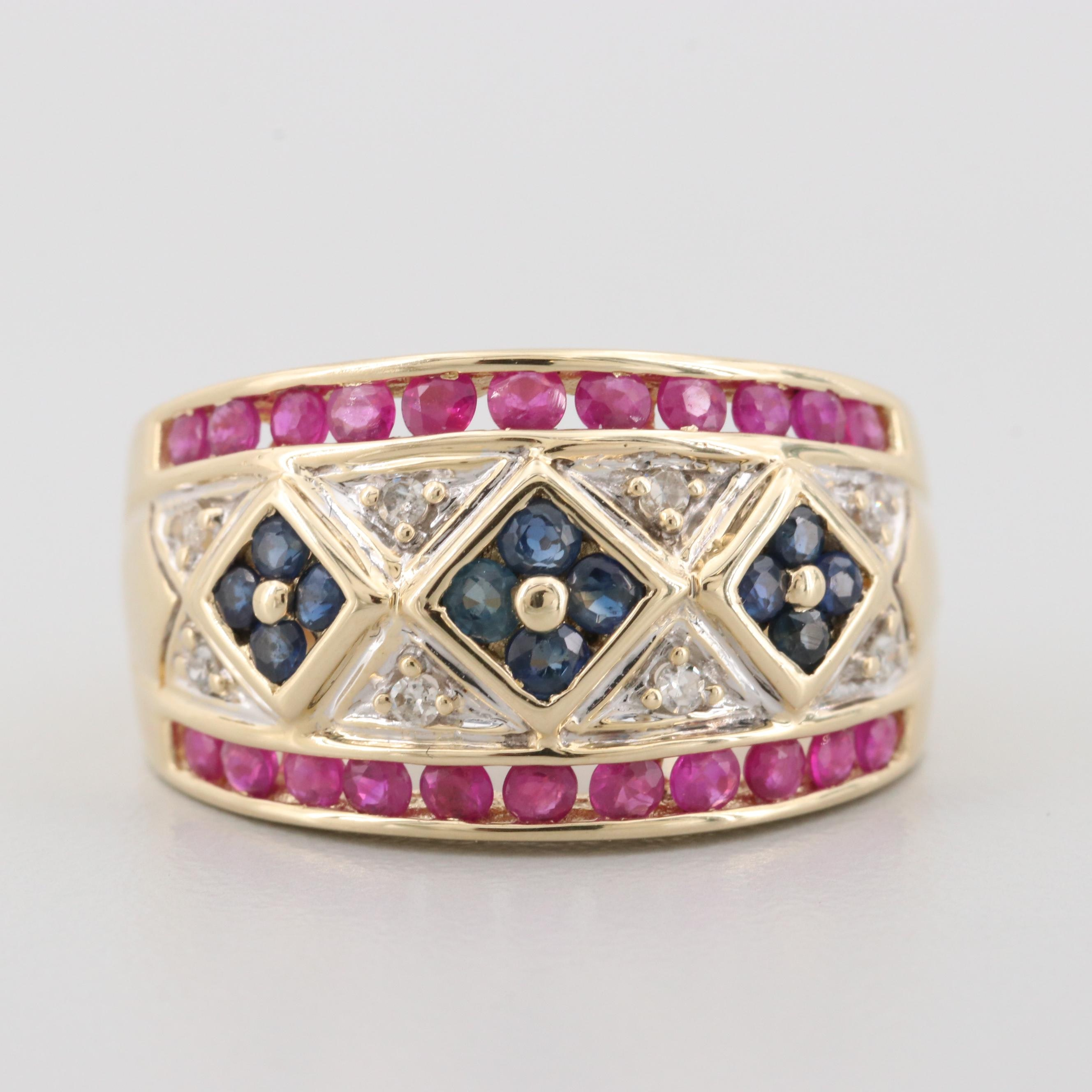 14K Yellow Gold Diamond, Ruby, and Blue Sapphire Ring