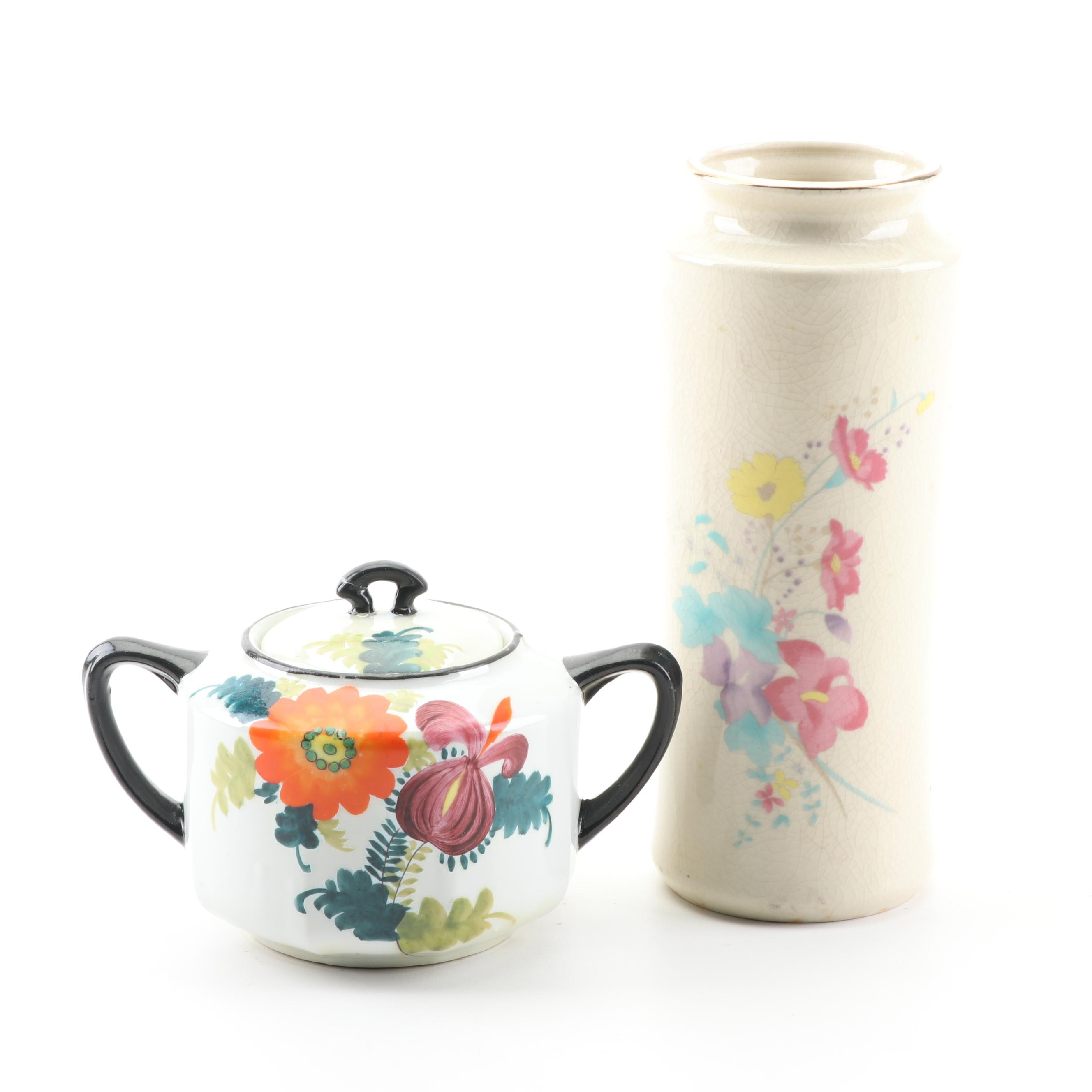 Japanese Hand-Painted Ceramic Vase and Lidded Sugar Bowl