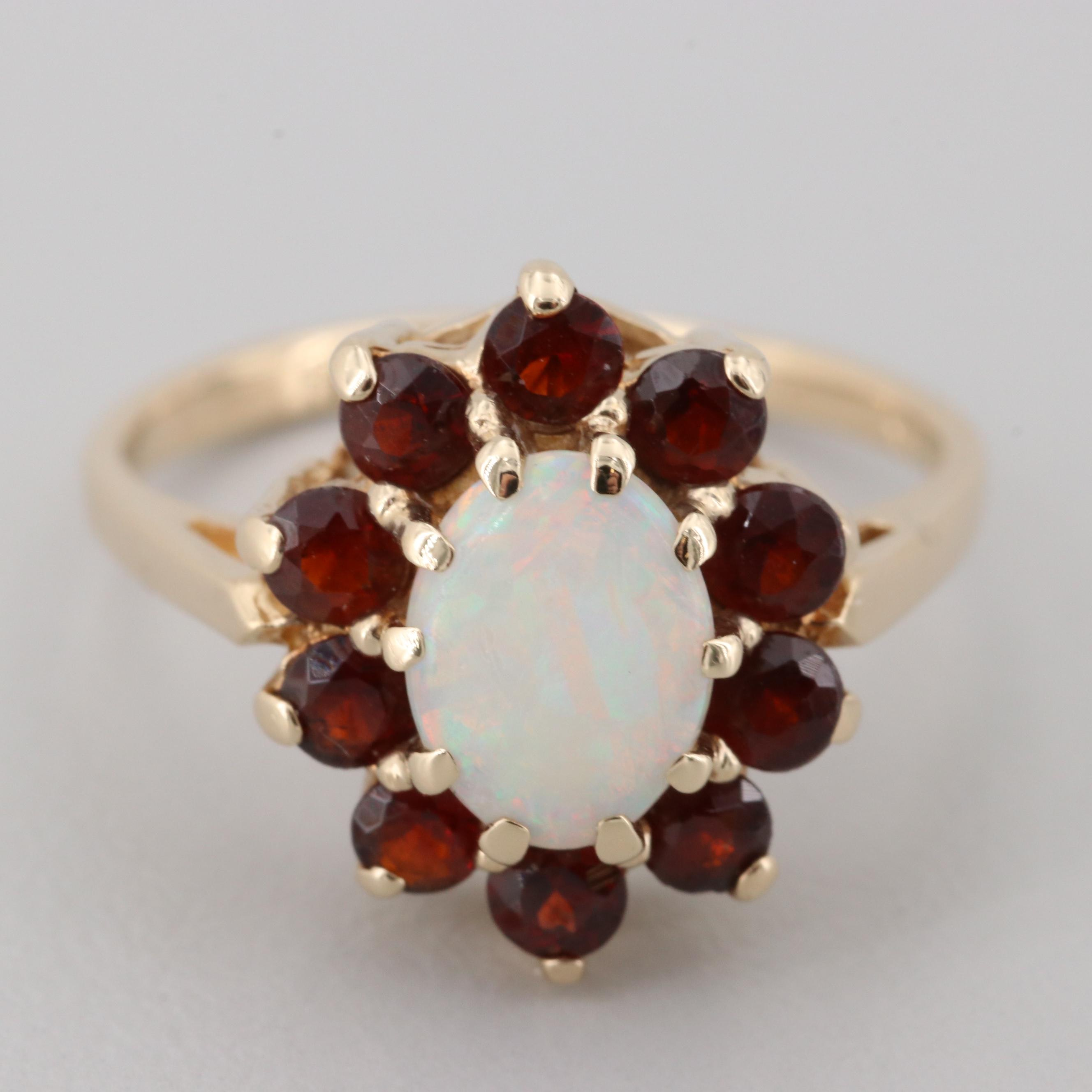 14K Yellow Gold Opal and Garnet Ring