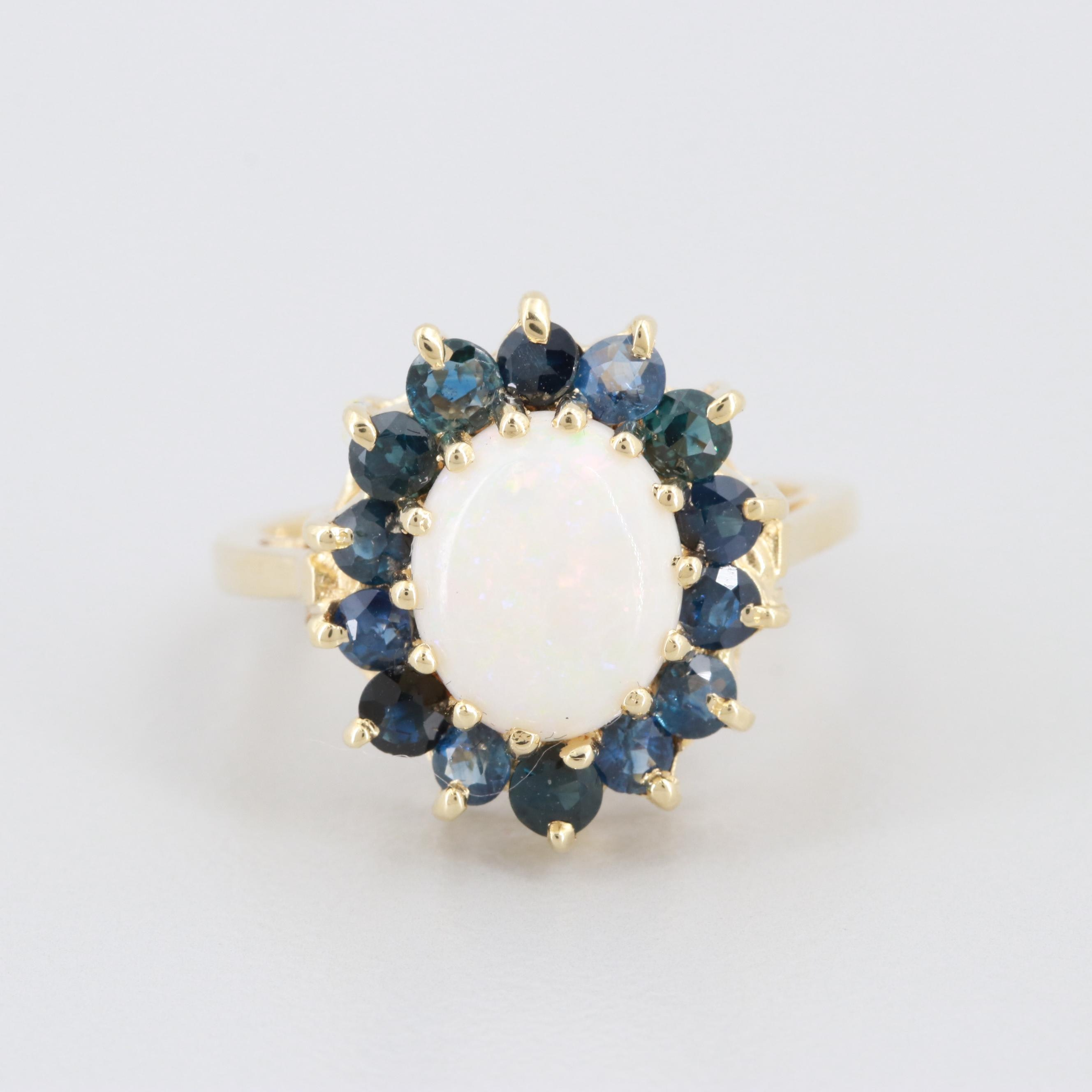 14K Yellow Gold Opal and Blue Sapphire Ring